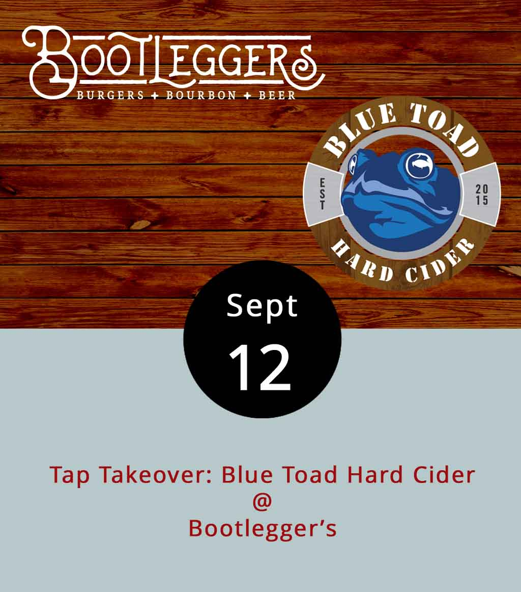 Blue Toad Hard Cider has been hitting Lynchburg city bar taps with frequency of late. Tonight, the cidery will take over at Bootlegger's (50 13th St.) offering a variety of mixed flavor ciders concocted with apples grown near their home locations in Nelson County and upstate New York. The event is from 5-9 p.m. For Blue Toad's full lineup, click  here . Bootlegger's  menu boasts heaping burgers smothered with all sorts of toppings. The restaurant also provides a nice view of the James River and Jefferson St.. And it's on the  Bluff Walk , so there's a good spot to watch the sunset and stroll off a few calories. For more information about the event, click  here , or call Bootlegger's at (434) 333-4273.