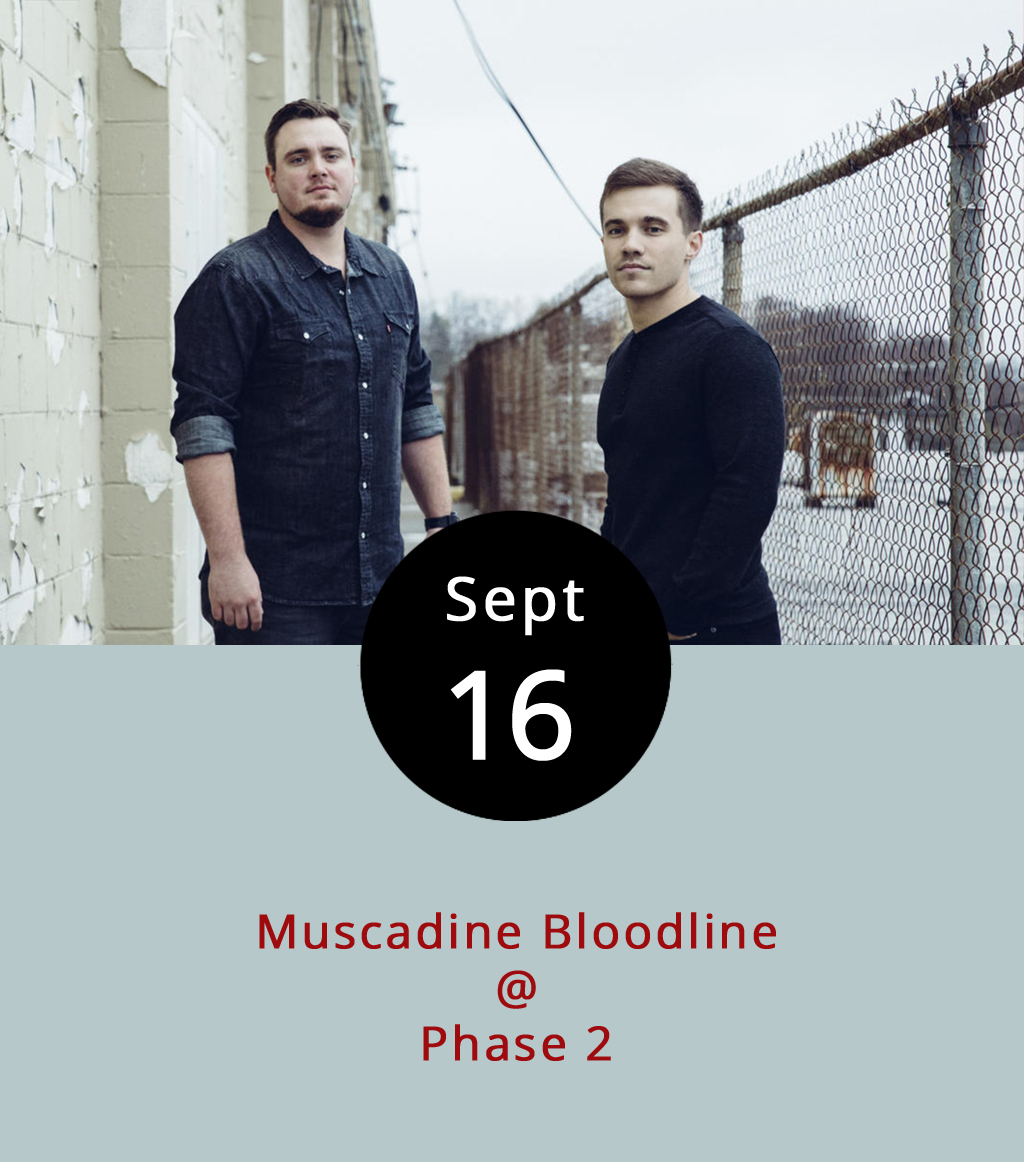 """It's an unusually busy weekend for music around town, and it continues tonight with an up-and-coming country duo from Montgomery, Alabama who have already been singled out by  Rolling Stone as rising stars. Gary Stanton and Charlie Muncaster are known as Muscadine Bloodline, and they're touring in support of their self-titled debut EP, which features the earnest and twangy single """" WD-40 ."""" They hit Phase 2 (4009 Murray Pl.) tonight for a 8 p.m. show. Doors are at 7 p.m., and tickets are $12. There are also VIP tickets for $29.99, which include an all-you-can-eat buffet. Click  here , or call (434) 846-3206."""