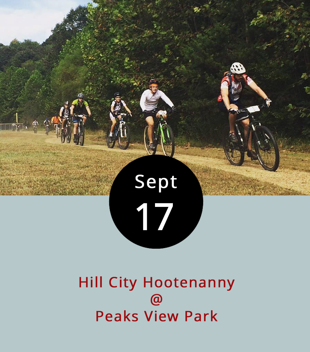 Lynchburg's mountain bikers are planning a Hill City Hootenanny for pedalers of all levels. The event, which is basically a bike ride followed by an informal get together, takes place at Peaks View Park (1145 Ardmore Dr.), starting at 11 a.m. The most experienced riders will take off first, followed in quick succession by those who take a more recreational attitude toward mountain biking. Participants should enter the park through the Ardmore entrance, home to the big red barn, then cross over Ivy Creek by bridge and turn right on the greenway. The staging area will be on the soccer field near trailhead #1. Click  here for a park map and  here to see the likely route. Tickets are $25 or $30 depending on experience level and can be purchased  here . The entry fee includes two slices of pizza and a drink from Upper Crust Pizza, who will have their food truck on site. For more information, call Blackwater Bike Shop at 434-385-7047 or click  here .