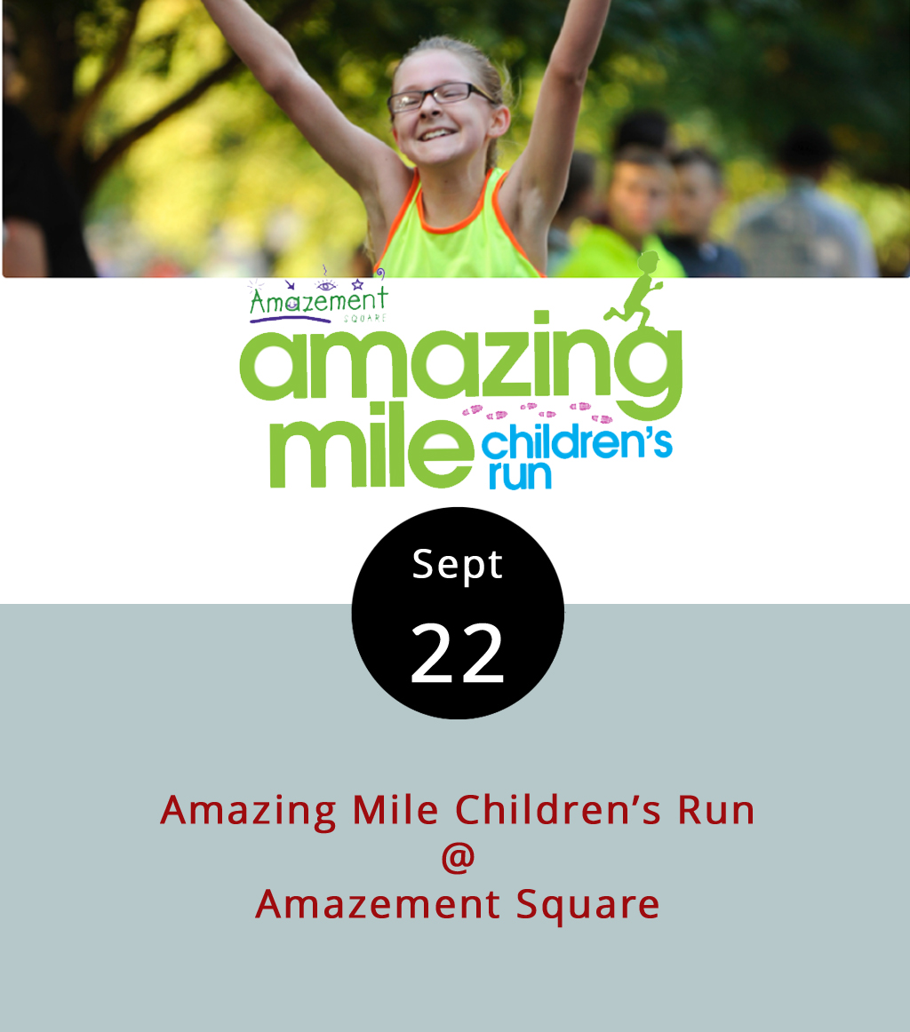 """The Virginia 10 Miler isn't until tomorrow, but the annual running of the kids kicks things off this evening at Amazement Square (27 9th's St.). Known as """"the Amazing Mile,"""" it's a fun run for runners, joggers, and even walkers under the age of 13, and it's paired with a half-mile race for those between the ages of six and nine, and a quarter-mile jaunt for kids under five. The races begin at 6 p.m. on Jefferson Street, which will be partially closed for the event. Preregistration is recommended, and parents can pick up race packets from 1-5 p.m. today at Amazement Square. It's $25 to register; click  here  for more info."""