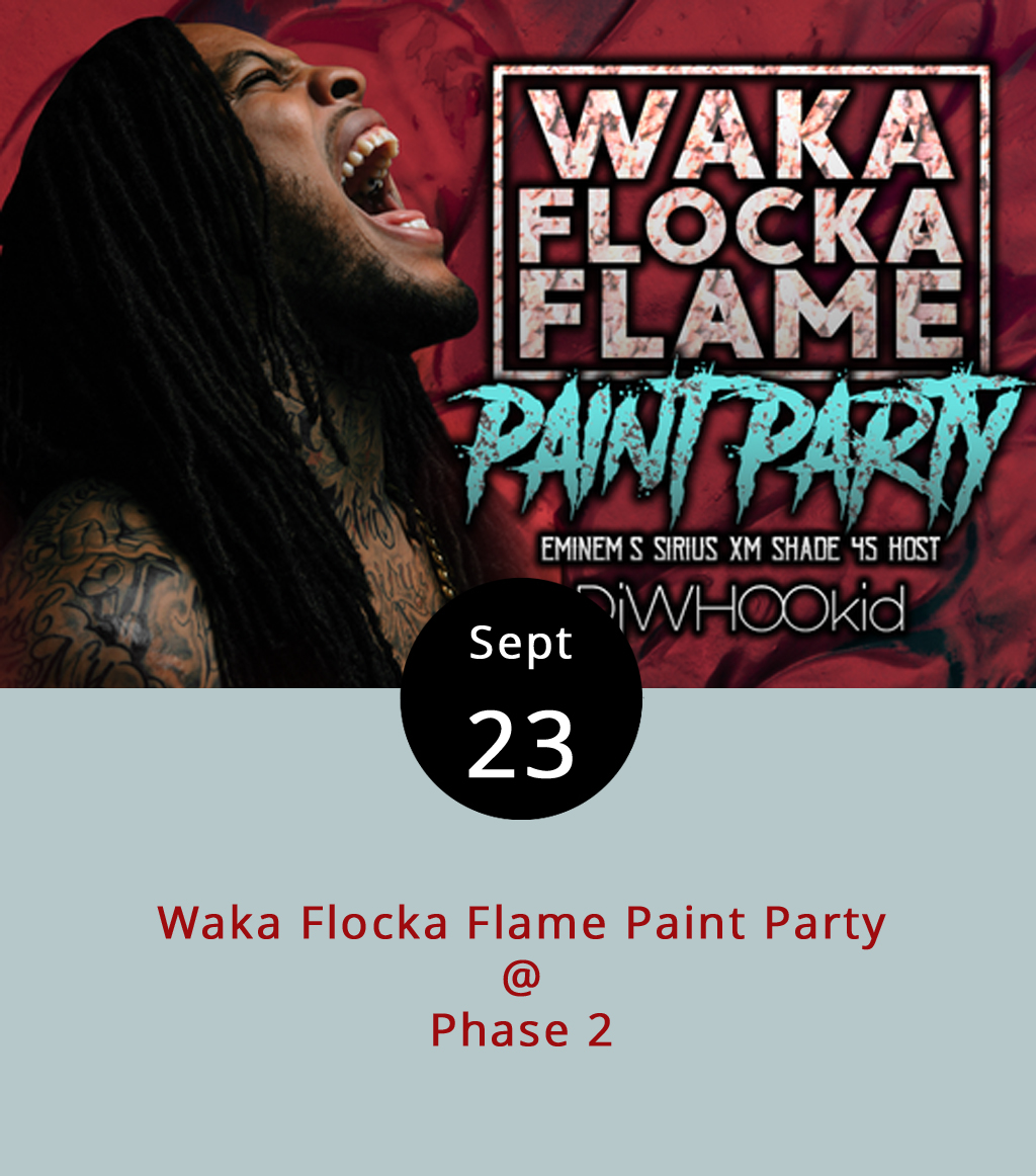 """Trap-rap meets 200-plus gallons of paint tonight at Phase 2 (4009 Murray Pl.) for a """"Paint Party"""" featuring Georgia-by-way-of-NYC rapper Waka Flocka Flame. It makes a little bit of sense: Waka Flocka had an underground hit with the single """"Hard in da Paint,"""" which we thought was a basketball reference, and there will be lots of paint in loaded paint cannons and paint guns at the show.What could possibly go wrong? The show's targeted to promote the October release of  Flockaveli II , which is Waka Flocka's fourth studio album. Click  here  to hear the album's first single, """"Big Dawg."""" General admission tickets are $20, or you can pay $34.50 for a Paint Warrior 2K17 pass that includes a bottle of paint, complimentary towel, and other amenities. Doors open at 7 p.m., the paint party begins at at 8 p.m. and Flame goes on around 10 p.m. with backing from DJ Whoo Kid. It's an 18-plus show; call (434) 846-3206 or click  here  for more info."""