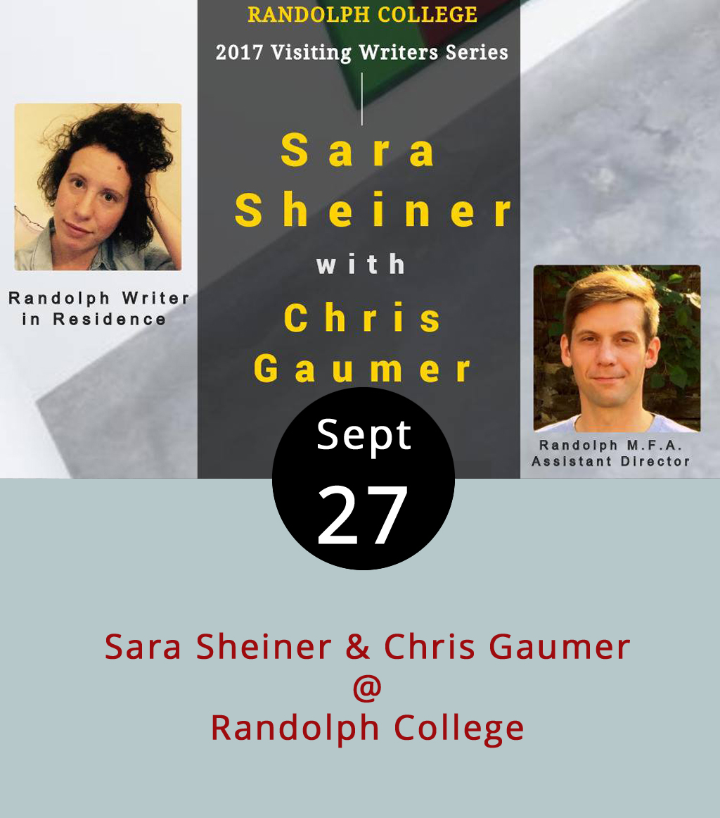 """The Randolph College Visiting Writers Series brings poets, novelists, and others who write fiction, non-fiction, and whatever falls in between to Lynchburg every semester to add a little literary spice to campus life and the surrounding community. The first reading of the Fall keeps things fairly local and risks making a misnomer of the """"visiting"""" part of the series' formal name. Sara Sheiner's a young poet who recently got her MFA in creative writing at Virginia Tech, where's she's now a teaching assistant. Chris Gaumer is a totally local guy who's Assistant Director of the new MFA program at Randolph, so he isn't just visiting. They'll both read from their work this evening at a free reception at the Maier Museum of Art (1 Quinlan St.). Click  here  for more info, or call (434) 947-8000."""