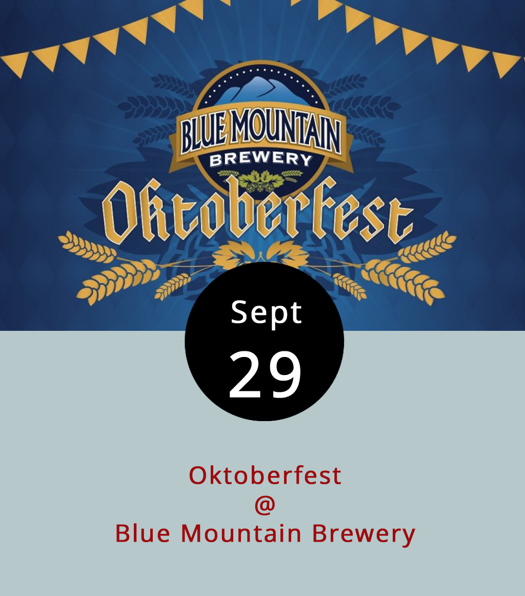 It doesn't take a trip to Bavaria to get a taste of the annual beer celebration known as Oktoberfest. Blue Mountain Brewery (9519 Critzers Shop Rd., Afton) begins its own celebrating tonight with lots of beer and music by the bluesy  Delta Junction from 6-8 p.m. Every day through October 8, the Nelson County brewery is hosting special events, and the on-site restaurant will feature German specials on its menu for the duration. For a complete list of events, click  here or call (540) 456-8020 for more information.