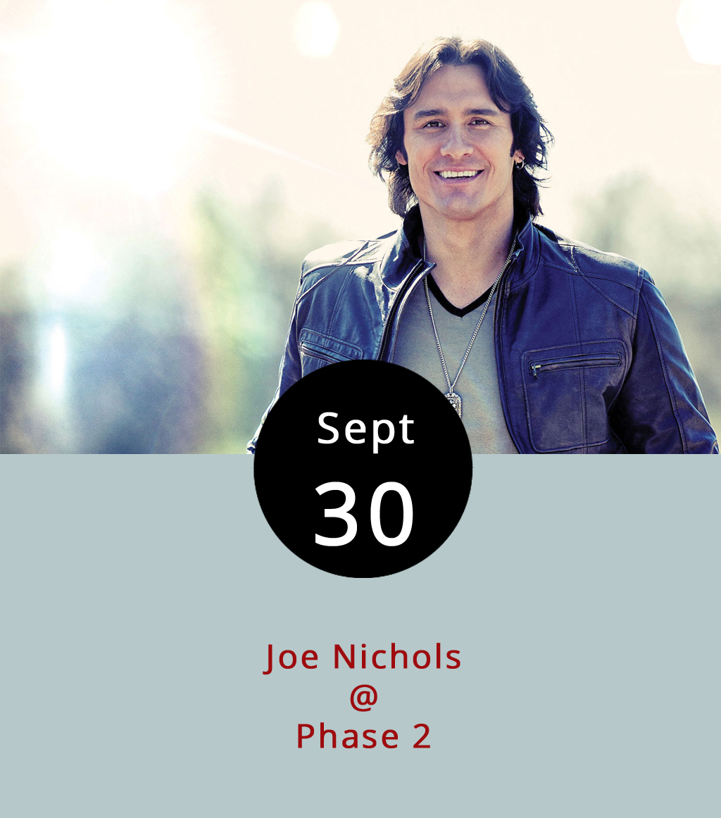 """Be careful about trying the tequila tonight at Phase 2 (4009 Murray Pl.) as country singer Joe Nichols stops by to shop his most recent album. The country artist, known for hits including """"Brokenheartsville"""" and """"Tequila Makes Her Clothes Fall Off,"""" performs tonight as part of a tour promoting  Never Gets Old , the album he released in July. To check out the title track, click  here . Doors open at 7 p.m. and the show begins at 8 p.m. The show is 18-plus. General admission  tickets are $24.99 and VIP tickets are $55. Call Phase 2 at (434) 846-3206 for more information."""