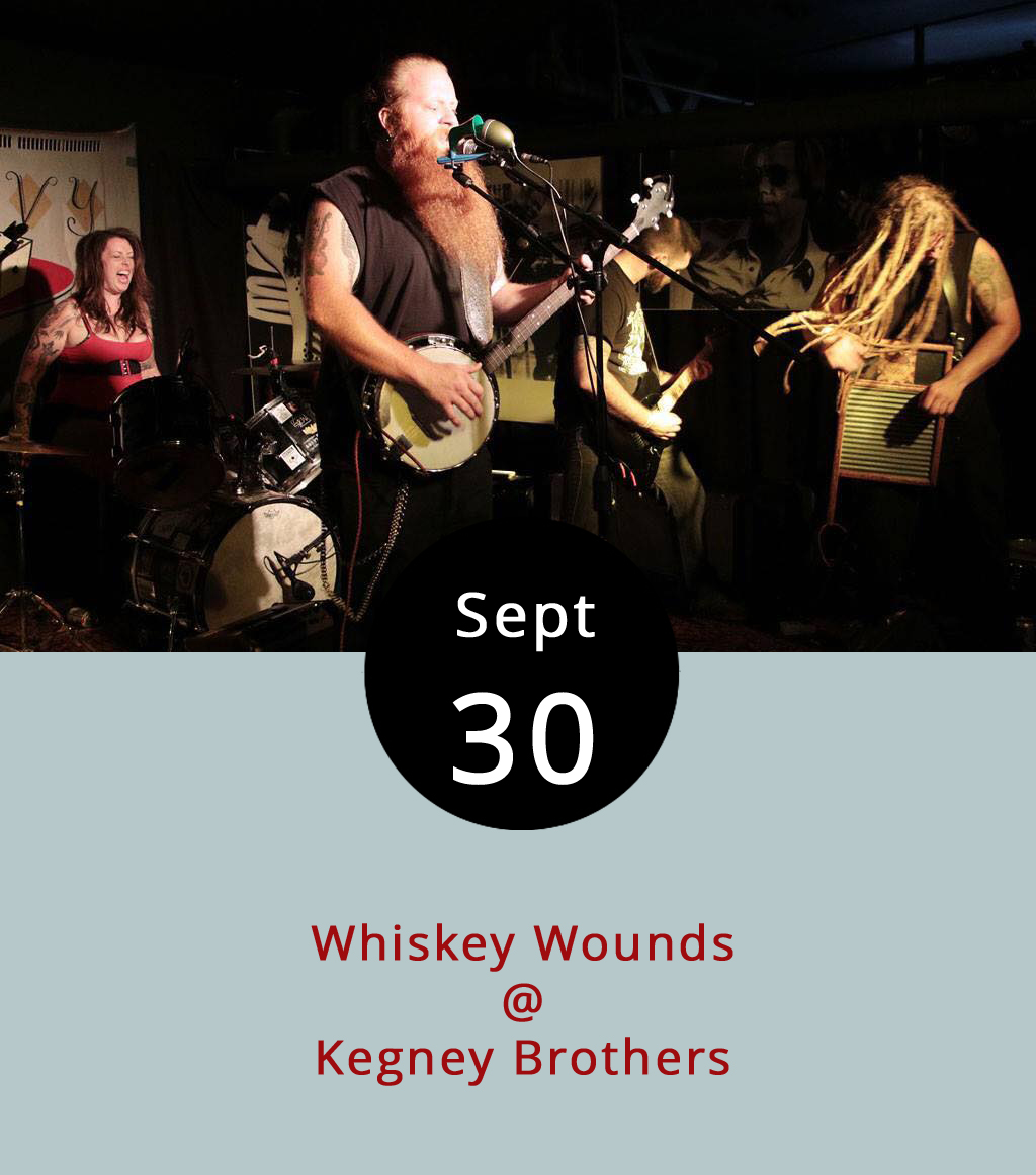 """After the Lone Bellow finish up at Riverfront Park, it's not a far walk to Kegney Brothers (1118 Main St.), where the local country-punk band Whiskey Wounds will perform inside on the Tiles. The band features fiddle, banjo, washboard, and a whole lotta yellin'. They also do a rippin' version of Radiohead's """"Creep."""" The show starts around 10 p.m. It's 21-plus and there's a $3 cover. For more information click  here or call (434) 616-6691."""