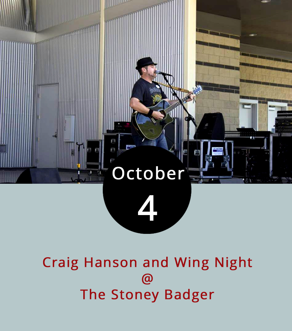 If there's one thing Lynchburg has been able to count on lately, it's Craig Hanson performing on Wednesdays at the Stoney Badger Tavern (3009 Old Forest Rd.). The Lynchburg-area singer-songwriter performs a regular Wednesday gig without his usual band the Gypsies. When the evening weather is nice, he's performed on the big deck out back, but fall weather means he's inside more often. It also just happens to be wing night at the Badger, which means all 19 varieties of wings are just 75 cents each. We're gonna recommend the Seven Pepper dry rub, the Spicy Thai, and the Parmesan Caesar as a good place to start. We've also heard good things about the smoked wings, although they're not always available. Hanson's set runs from 7:30-10:30 p.m. Click  here or call (434) 384-3004 for more info.