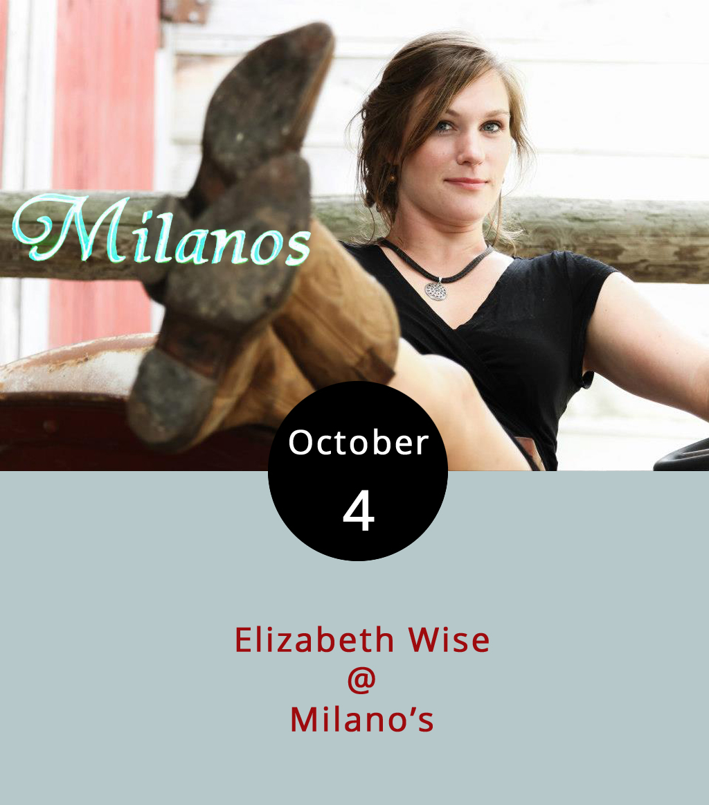 It's been a while since we last plugged the Wednesday night music series at Milano's Italian Restaurant (4327 Boonsboro Rd.), although you can always find the featured artist listed on our  LynchburgDoesMore page. But with all the roots music happening later this week at the Festy, we thought we'd put in a good word for Elizabeth Wise, who'll be doing her folky blues thing tonight from 7:30-10:30 p.m. at Milano's. Wise is a Virginian from Richmond, but her roots extend into Memphis, through the Delta, and beyond. Milano's serves a mean pizza and top-notch calzones. Not bad for a Wednesday night. There's no cover for the show. For more info, click  here or call (434) 384-3400.