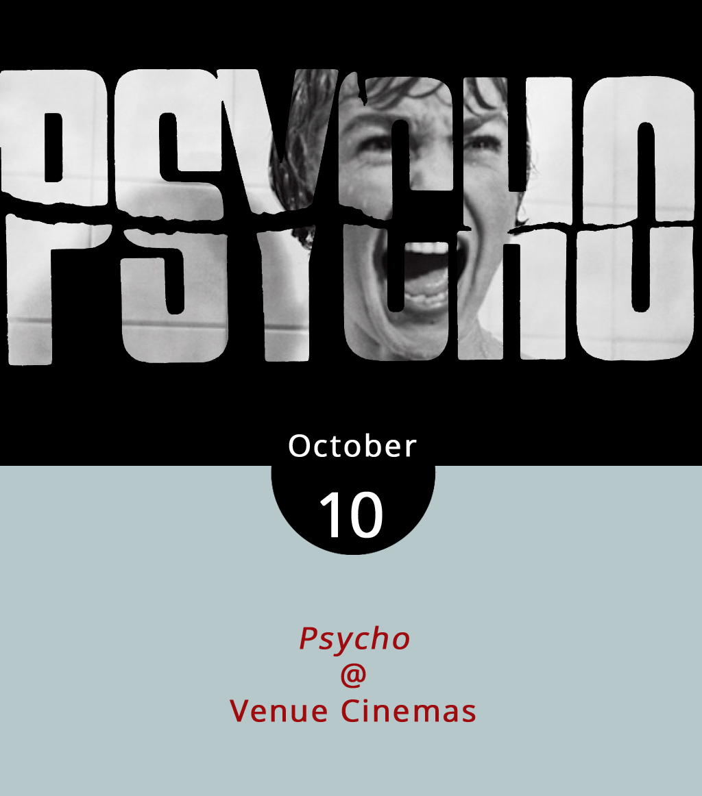 While times and cinematic styles change, our fears of the spooky, creepy and unknown will always survive on film. And just to make sure we don't forget, Venue Cinemas (901 Lakeside Dr.) has lined up one of the all-time classic horror films this week. They're featuring Alfred Hitchcock's thriller masterpiece  Psycho  (1960) about a woman on the run (Marion Crane played by Janet Leigh) who stops off at the Bates Motel. There she meets Norman Bates (Anthony Perkins), the shy innkeeper who seems controlled by his mother, although Crane learns the truth is far more frightening. The show runs October 6-12. Showtimes occur daily at 12:20, 2:30, 5:00, 7:30 and 9:55 p.m. For ticket information, click  here or call (434) 845-2398.