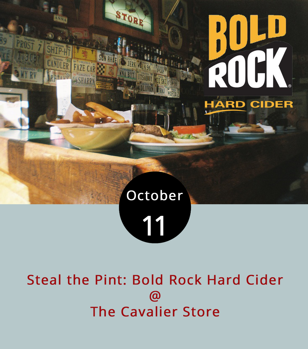 While many tap takeovers highlight brewers, The Cavalier Store (2920 Rivermont Ave.) offers up another another sort of craft beverage fit for the season tonight. Come to the Cav from 6-9 p.m. and order up from a selection of Bold Rock Hard Ciders on tap and take away a branded pint glass from the Nelson County cidery. They'll have Bold Rock staples Virginia Draft, IPA, and Premium Dry as well as the seasonal Blood Orange, made with Blue Ridge apples and blood orange juice. By the way, don't be fooled by the acronym IPA, which implies the drink is an India Pale Ale, a popular style of craft beer. The cidery's version actually stands for India Pressed Apple, although it is made with five types ofhops. To learn more about Bold Rock's beverages, click  here  or call the Cav at (434) 845-3837 for more information.