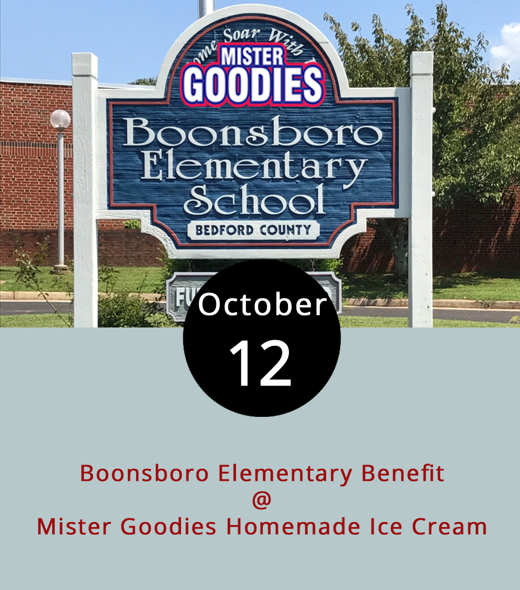 The good folks at Mister Goodies Homemade Ice Cream (4119 Boonsboro Rd.) in the Kroger shopping center are being extra goody this month by supporting a bunch of local causes, including the Lynchburg City Schools. Tonight from 6-10 p.m., a full 20% of their take will go to Boonsboro Elementary School, just as long as you mention the school when you pay. Might as well mention you heard about it on LynchburgDoes as well. If you're not familiar with Mister Goodies, well, we can't give you a full rundown of their dozens of homemade flavors. But, we can tell you that the Rivermont and the 03 are pretty cool concoctions, and they've got a new monster mash flavor featuring orange Oreos, chocolate sprinkles, white chocolate chunks, and gummy monsters in a vanilla base. Very scarrrrry. For more info, click  here  or call (434) 849-8339.