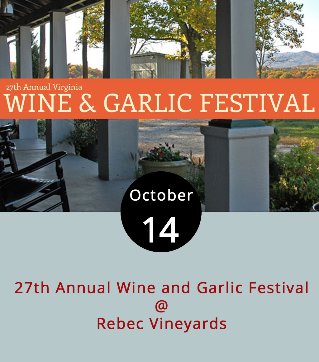 There's no need to bribe or cajole a friend into being the designated driver for this year's Virginia Wine & Garlic Festival at Rebec Vineyards (2229 N. Amherst Hwy.). Brew Ridge Tours plans to shuttle Lynchburgers to and from the two-day festival featuring wine and garlic tastings as well as live music. In its 27th year, the festival will host at least nine wineries, a cidery and at least 15 food venues with garlic-infused specialty items. The festival going from 10 a.m.-5 p.m. today and tomorrow features live music, including  Apple Butter Soul  at 1 p.m. today and 2:30 p.m. tomorrow as well as  Jenny and the B-Side Rockers . Tasting tickets are $30 at the gate and non-tasting tickets are $20. For more information about the event, click  here . Brew Ridge Tours will run a shuttle leaving downtown today and tomorrow at 9:30 a.m., 11 a.m., 12:30 p.m. and 2 p.m. The $25 per person tickets are best ordered in advance to guarantee a spot, but reservations may be made up until departure time. Tickets can be  ordered  online up until today's 9:30 a.m. departure and by calling 855-446-7868 after that. For more information about the shuttle, click  here .