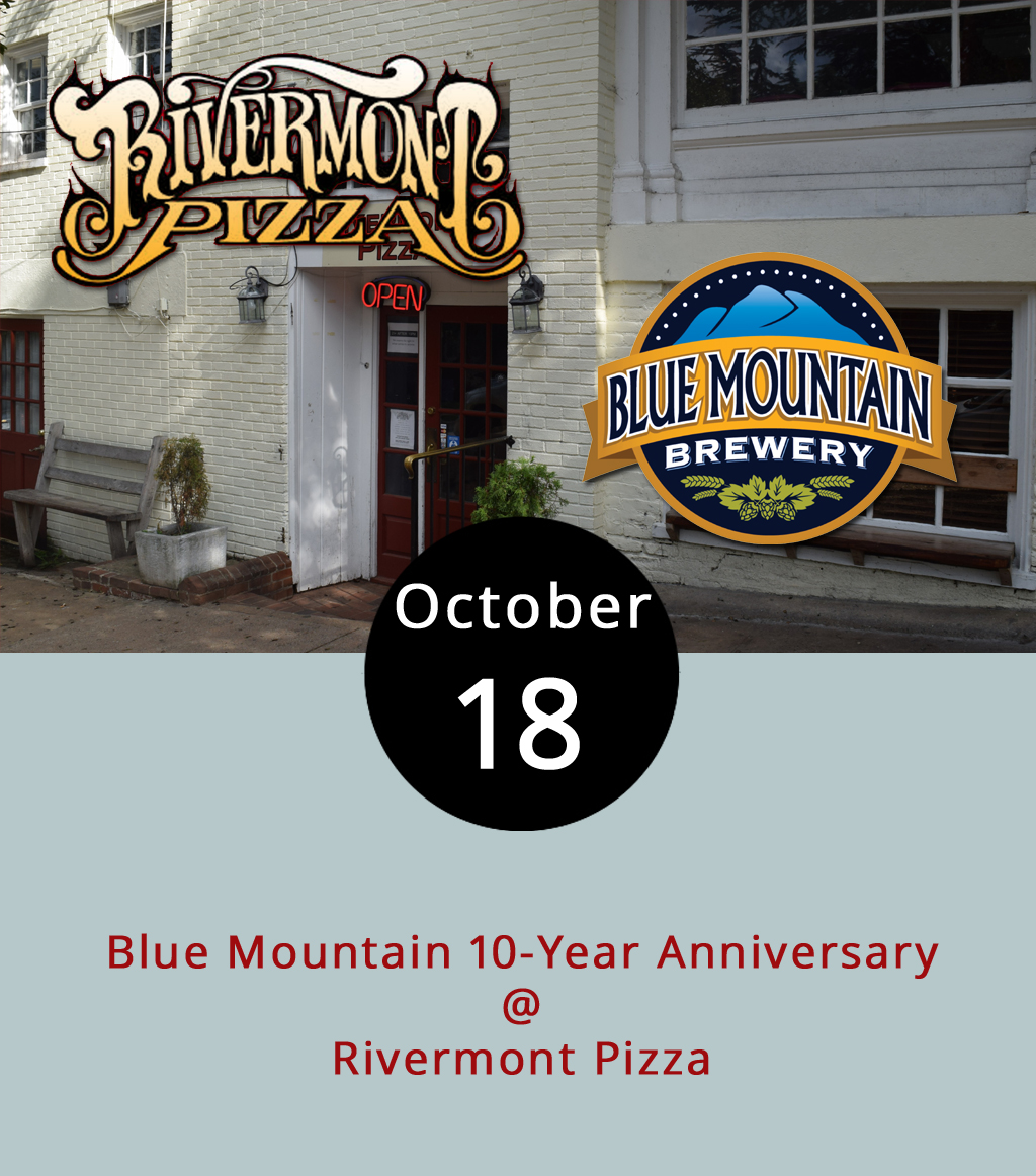 When a brewery turns 10, why would they have just one party? In the run up to Blue Mountain Brewery's celebration featuring live music for 10 straight days at its Afton brew pub  later  this month, it's holding a series of Steal the Pint nights throughout the state featuring some of its rare speciality brews. Tonight is Rivermont Pizza (2496 Rivermont Ave.), The event, starting about 6 p.m., features at least 10 regular, seasonal and rare brews, including the Dark Hollow Reserve: Concealed Darkness, a 10.6% ABV American Double Imperial Stout usually only available for purchase directly from the brewery, according to RP barkeep Jeremy Fogt. They'll also have the Full Nelson Virginia Pale Ale, Kolsch 151, Hopwork Orange IPA, Spooky Un-spiced Imperial Pumpkin Ale (as well as somewhat rare barrel-aged version of Spooky), 13.Five Oktoberfest, Hop Duster Double IPA, and others. For more information about the brews, click  here . Call RP at (434) 846-2877.