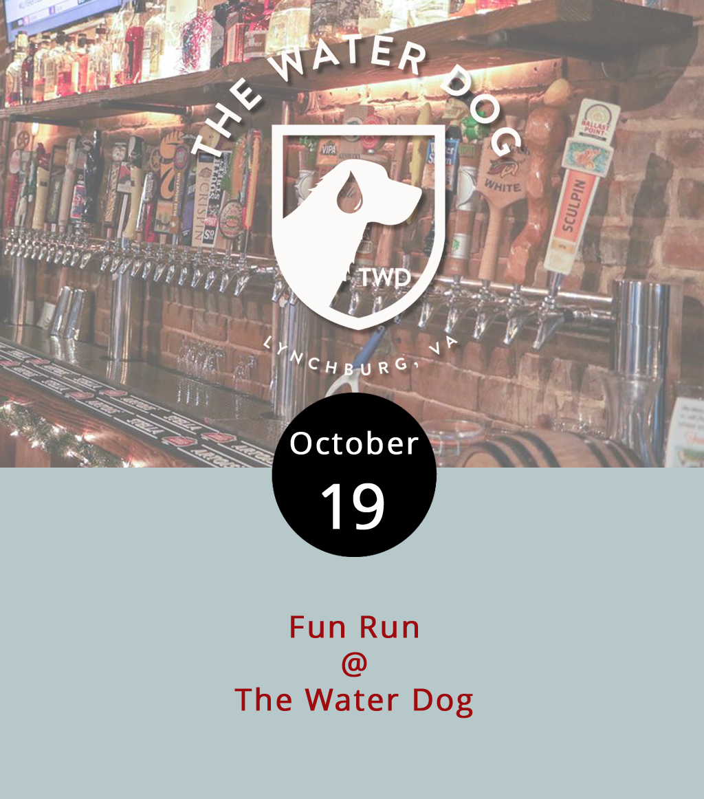 "Finding momentum to exercise can be trying, but Riverside Runners and The Water Dog (1016 Jefferson St.) think they have the proper motivation: drink specials and door prizes. The pair will host a four- or five-mile ""fun run"" on the Blackwater Creek Trail tonight. The meet-up starts at the The Water Dog at 6 p.m. After the group finishes running, they'll circle back to Water Dog for drink specials,  food and fellowship. Participants have a chance to win a Water Dog glass, growler, or gift certificate. For more information, click  here  or call (434) 333-4681."