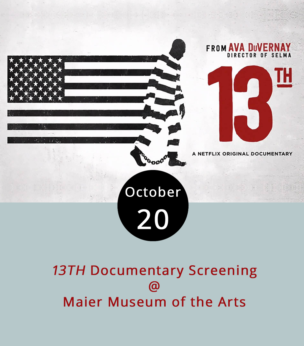 Although anyone with a Netflix account can watch the streaming service's original documentary  13TH , attending the live screening tonight will come with the sort of discussion the subject matter demands. Ava DuVernay's Academy Award-winning documentary film about race and American criminal justice system gets its name from the 13th Amendment to the United States Constitution, which bans slavery. The exception: incarceration, according to the documentary, which investigates the history, politics, policy, economics and racism that leads to mass incarceration and for-profit prisons. After the screening at Randolph College's Maier Museum of Art (1 Quinlan St.), which begins at 7 p.m., American Culture Assistant Professor Noël Wolfe, will lead a discussion about race, gender and law in the US until about 9:30 p.m. There will be a cash bar. For more information, click  here . The event is part of the 26th Annual Berlind Symposium, an annual event designed to expound upon the museum's contemporary art exhibit,  Carceral States . For a full list of events, click  here .