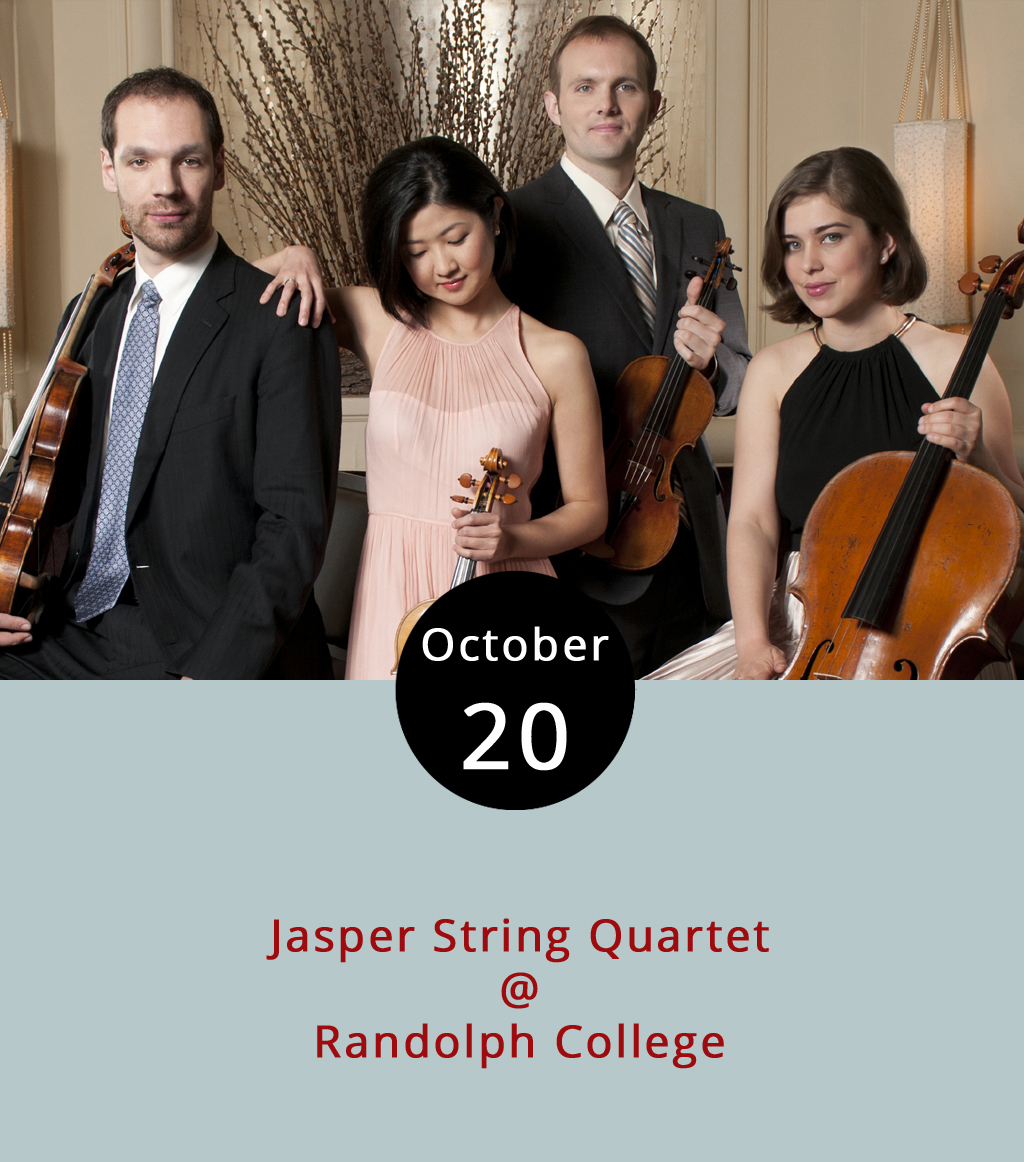 It's a tough call for classical music fans in the area this evening; reeds at Sweet Briar and strings at Randoph. That's right, in addition to the Akropolis Reed Quintet, we've got Philladelphia's Jasper String Quartet coming to Randolph College's Smith Hall (2500 Rivermont Ave.) for a 7:30 p.m. performance. The award-winning chamber music ensemble will present a program including pieces by Mozart and Prokofiev, as well as a Schumann piano quintet featuring Randolph professor Emily Yap Chua on the keys. The event is free; call (434) 947-8000 or click  here  for more info.