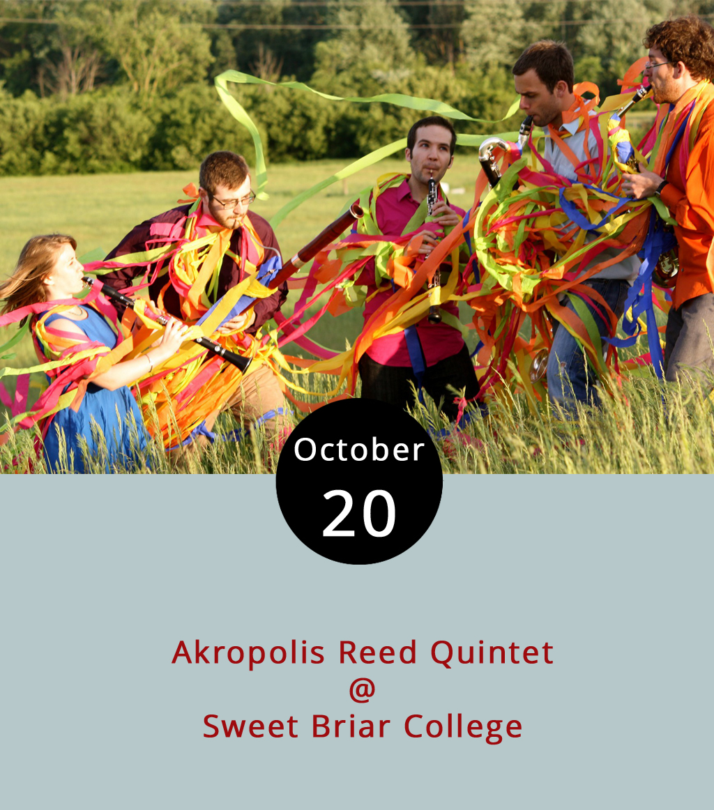 The Sweet Briar campus is beautiful on any fall evening, but tonight it'll be a little extra lovely. The Michigan-based Akropolis Reed Quintet is traveling all the way to the college's Memorial Chapel (134 Chapel Rd.) for a performance that will feature a piece composed by Sweet Briar professor Joshua Harris. The concert begins at 7:30 p.m. Ticket are $10 for general admission, $7 for seniors; and $5 for students. In case you're wondering what a reed quintet is – we were – it's a fivesome featuring saxophone, clarinet, oboe, bass clarinet, and bassoon. That's a lot of reeds. Click  here  for more info and ticketing, and support Sweet Briar!