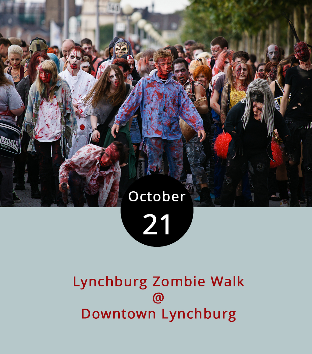We haven't confirmed whether actual zombies will attend Lynchburg's 7th Annual Zombie Walk today, and we expect difficulty distinguishing the living from the undead. Come dressed in your undead best today and compete for best costume while taking the opportunity to spook the squares. The downtown walk starts at the Community Market parking lot (1219 Main St.) at 5:30 p.m. with registration and instructions before beginning at 6 p.m. All entrants are asked to bring a canned good for the Blue Ridge Area Food Bank and/or a cash donation for the Lynchburg Dog Park. Prizes are awarded at 6:30 p.m. The gathering expects to move over to Kegney Brothers (1118 Main St.) after 7:30 p.m. for the official after party featuring a zombie film. For more information, click  here . And we'll let you know if we hear anything about actual zombies by mindlessly screaming and fleeing to higher ground.