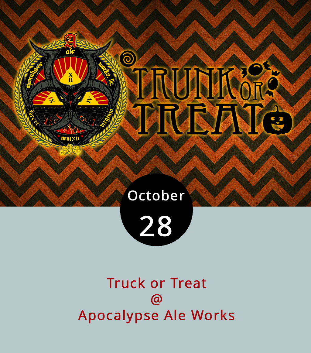 There's a chance to eat and drink for charity today at Apocalypse Ale Works (1257 Burnbridge Rd.). Truck or Treat brings Jacked Rabbit Food Truck, Hibachi Guys, Centra Code Fresh Food Truck and Appetite Creamery to Apocalypse in an effort to raise money for the Lynchburg and Bedford County Humane Societies. The noon to 4 p.m. event also features musical acts Original Gravity and Craig Hanson and a raffle with a pack of YETI gear among the prizes. For the kids, there's a Halloween costume contest, candy and adoptable dogs. Apocalypse will also be selling a limited release of its Imperial Marshmallow Stout, one of the spin-off brews they've been concocting lately. Entry for adults is $5 and free for children under six with proceeds, as well as a portion of Apocalypse sales, benefitting the Humane Societies. Group rates are available. For more information, click  here .