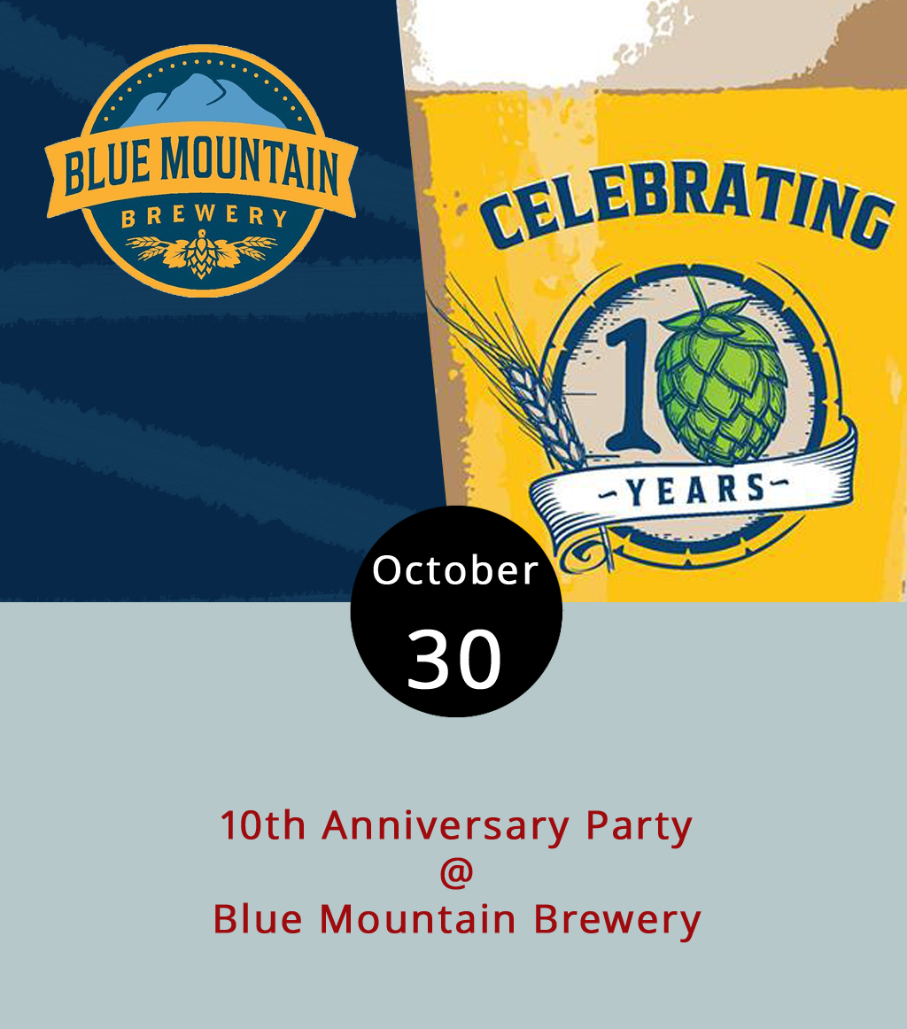 "One of the brewers who jumpstarted the craft beer boom in the region is turning 10, and they've taken a couple of well-earned weeks to celebrate it. Blue Mountain Brewery (9519 Critzers Shop Rd.) continues its 10-day celebration tonight, featuring a different beer special and live musician every night.  Tonight , it's ""one-man reggae band"" Greg Ward with a special on the brew pub's Classic Lager from 5:30-8 p.m. They'll also be giving away free soft pretzels. When Blue Mountain opened in 2007, it was the first Nelson County brewery, joining the wineries already dotting the hilly region. The brewery, which grows its own hops, is a leader in the  Nelson 151  marketing initiative, drawing tourists to the county's craft beverage culture and pristine natural surroundings just off the Blue Ridge Parkway. For more information about the 10th Anniversary Party lineup, click  here  or call (540) 456-8020."