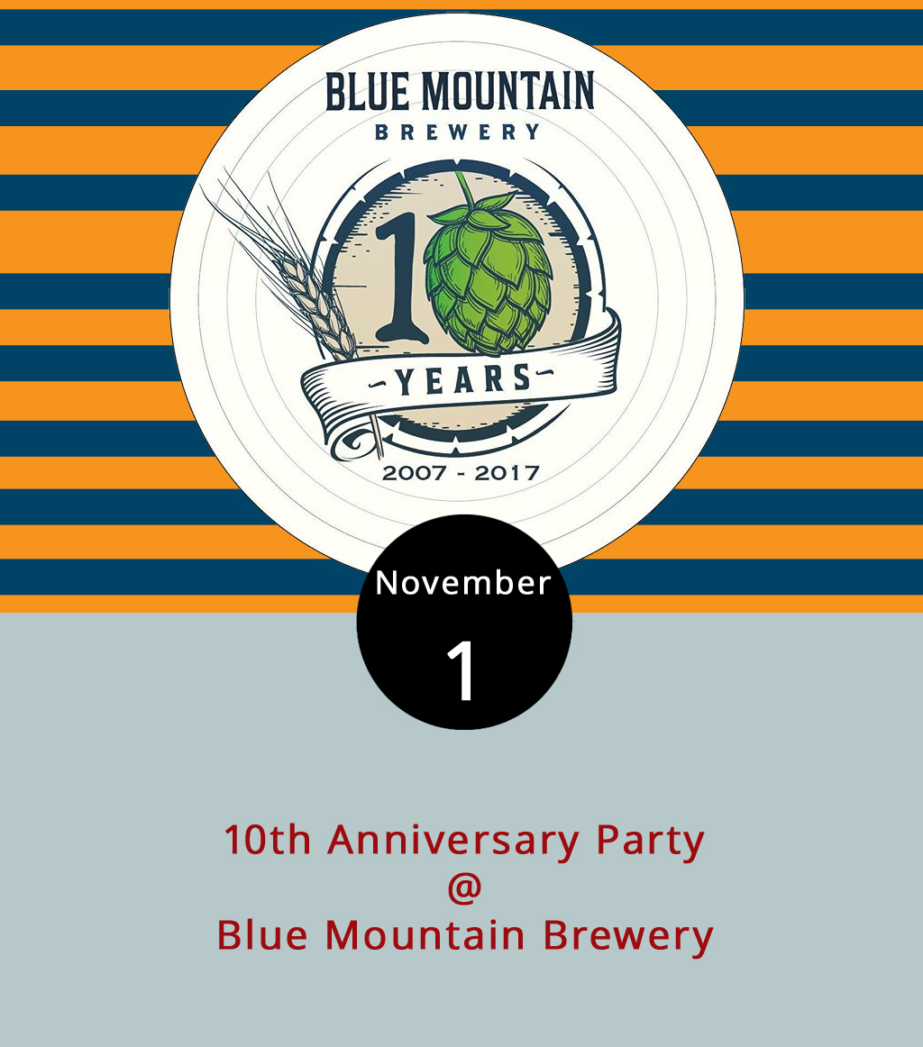 The party will continue through Friday, but there's plenty going on tonight at Blue Mountain Brewery (9519 Critzers Shop Rd.).  Tonight , the brewpub hosts musician  John Howard and highlights its  Nitro Porter . It looks like dessert is on Blue Mountain too, as they're offering up free bread pudding. The event is part of a 10-day celebration for the brewery's 10th anniversary. Nelson County's first brewery, which brews its own hops, helped lead a resurgence in the local economy when it opened in 2007. Devil's Backbone and Wild Wolf Brewery as well as Bold Rock Hard Cider and Blue Toad Hard Cider and other craft beverage makers and restaurants comprise a booming craft community around Virginia 151 between Lynchburg and Charlottesville. For more information about the 10th Anniversary Party, click  here  or call (540) 456-8020.