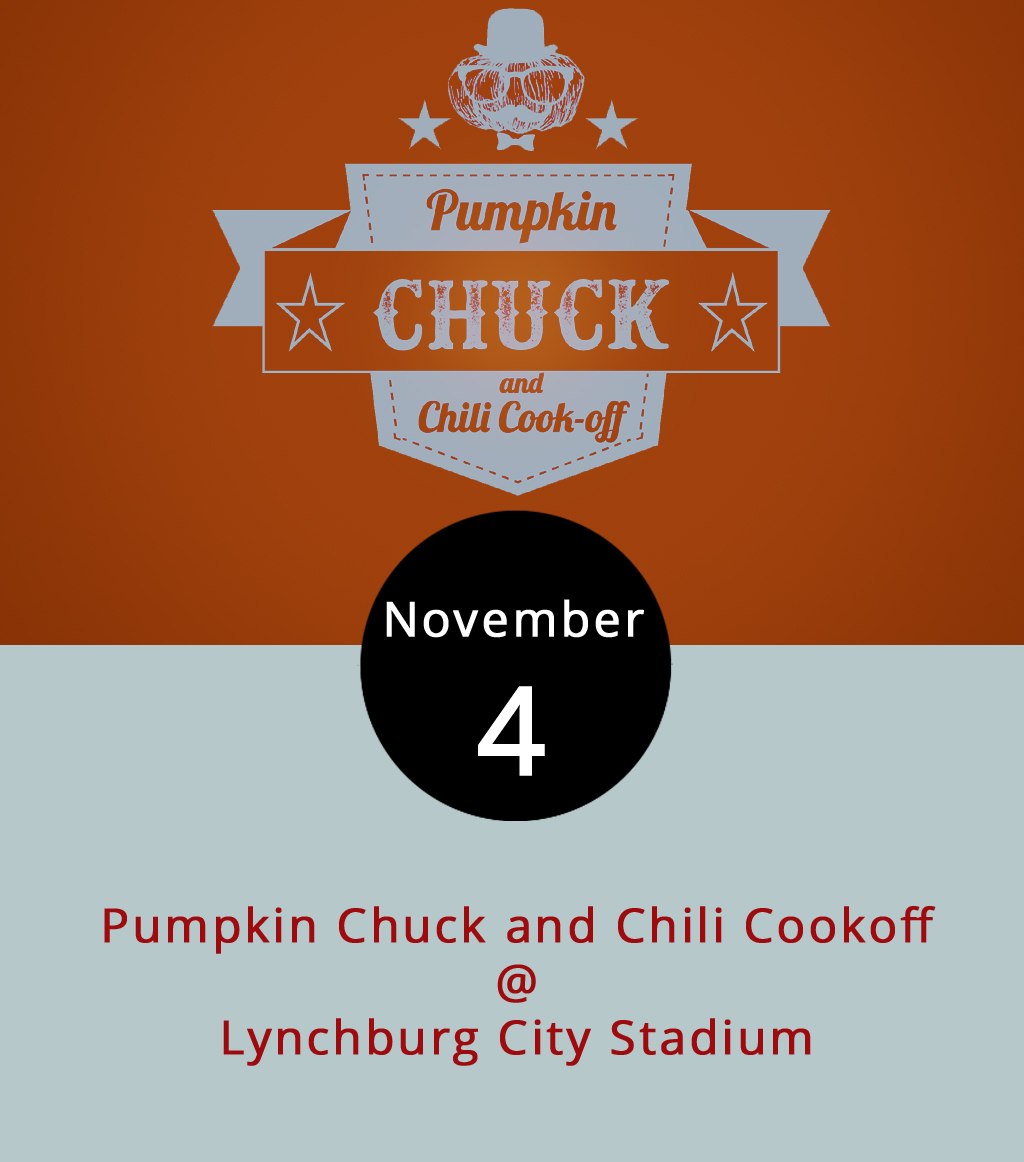 Which would fling a pumpkin the farthest: a catapult, slingshot, trebuchet or some other contraption? Find out today as Hill City residents compete with homemade pumpkin hurling apparatus at the Pumpkin Chuck and Chili Cookoff at Lynchburg City Stadium (3180 Fort Ave.). There's also competition for accuracy, creativity and fan favorite. While registration to compete for both the chuck and cookoff are closed, the Lynchburg Parks & Recreation event is open and free to the public. They'll also have food trucks, Beale's beer and live music from  Bo-Zac  from 11 a.m. to 4 p.m. For more information, click  here  or call (434) 455–5873.