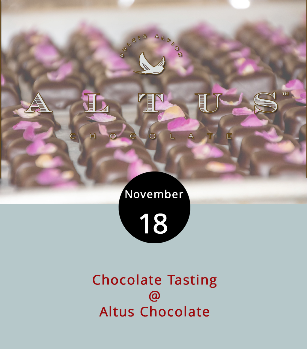 Chocolate lovers should easily get their fix this afternoon as Altus Chocolate (908 Main St.) hosts two back-to-back classes/tastings. At the 2 p.m. class, chocolatiers will lead a lesson on making fidget spinners (that actually spin) and other shapes out of chocolate. Each attendee gets to make two, and may top them with fruit, caramel and nuts. Tickets are $15, and the class is limited to 10 people. The second class starts at 3 p.m. and takes customers from bean to bar, so they can learn where chocolate comes from and how it's made. Of course, the lesson comes with Altus tastings. Attendance is limited to 20 people. Tickets for both events can be found  here . For more information, call (434) 847-2970.