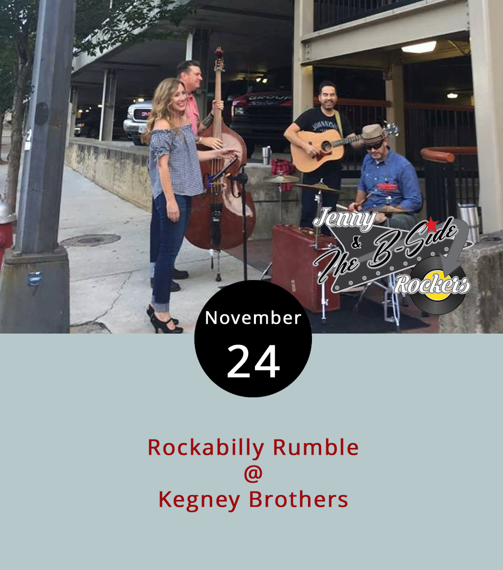 "There may or may not be a rumble on the promenade, but there will certainly be one at Kegney Brothers (1118 Main St.) tonight as Jenny and the B-Side Rockers take to the Tiles for three hours. The Rockers are Lynchburg's go-to for popping dance-swing-blues-country tunes, and their extended-set, or ""Rockabilly Rumble,"" will include original music as well as a mix of popular classics with which your hips and feet are well acquainted. The show is from 10 p.m.-1 a.m. For more information, click  here  or call (434) 616-6691."