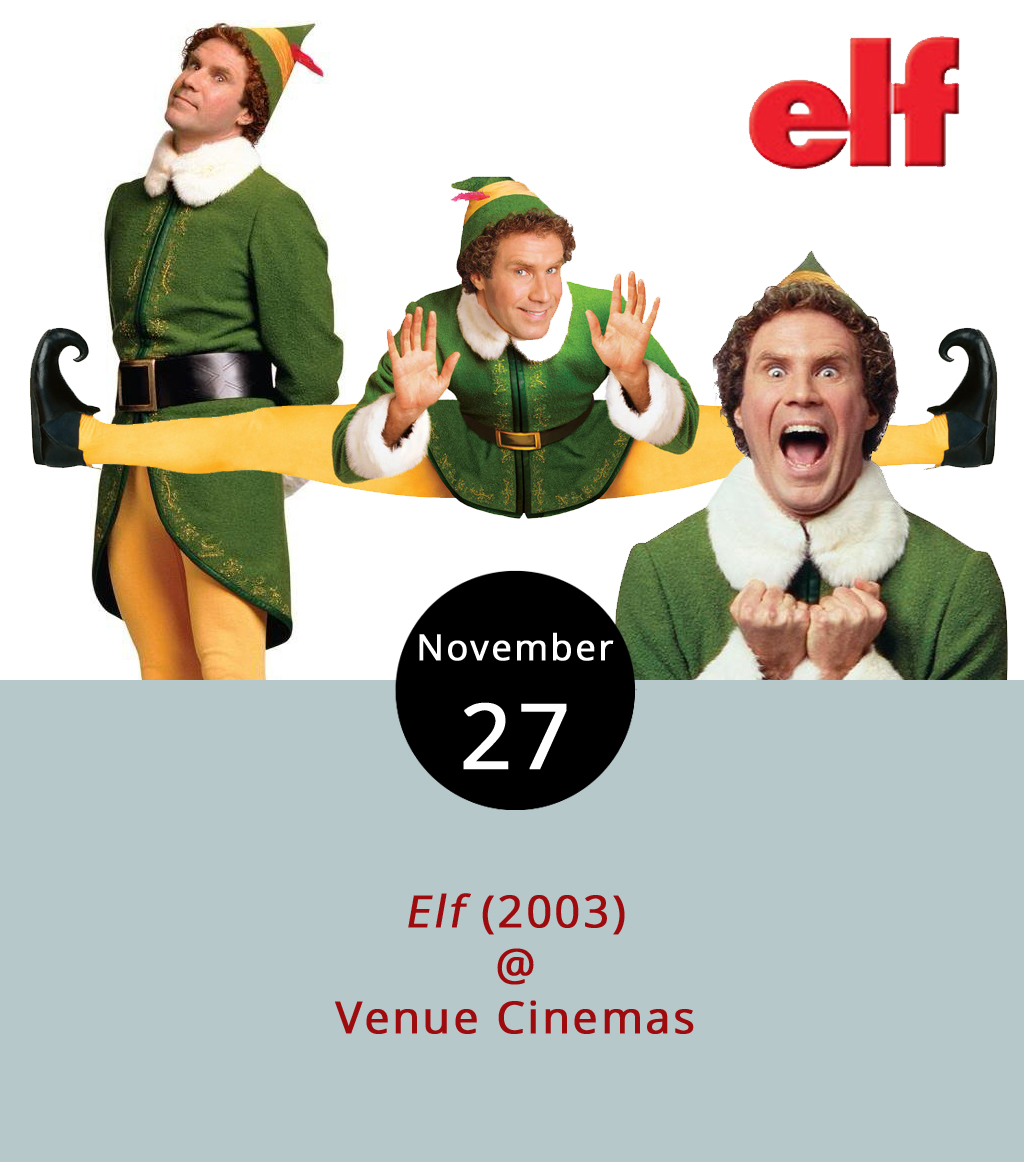 It's hard  to believe it's been 14 years since Will Ferrell donned yellow tights and a snug green jacket to perform what has become an iconic role as Buddy the Elf. The film, playing at Venue Cinemas (901 Lakeside Dr.) from Nov. 24-30, instantly installed itself in the holiday canon, making it a fitting opener for the Venue Christmas Classics season continuing through the end of the year. In  Elf  (2003), directed by Jon Favreau, Papa Elf (Bob Newhart) must tell Buddy he's  not just adopted but, even worse, he's a human. Although Buddy learns his biological father (James Caan) is on the naughty list, he treks south to New York City to meet him, hoping to melt his father's icy heart. Showtimes are 12:00, 2:20, 4:40, 7:10 and 9:30 p.m. For more information, including the entire Venue Christmas Classics lineup, click  here  or call (434) 845-2398.