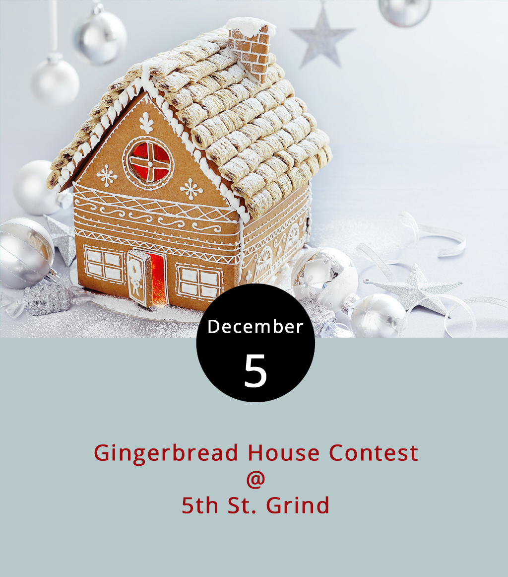 There's really only one time of year where gingerbread takes any sort of spotlight, and we're in it. Get the most out of the seasonal cookie today as 5th St. Grind (710 5th St.) hosts a gingerbread house building competition. For a $10 entry, a group or individual gets an all-inclusive kit to construct a gingerbread house in the cafe. The winner gets a V60 pourover kit. Come in any time today from 6 a.m. to 9 p.m. to participate, although you have to leave your sweet creation behind for the competition, which will be judged by popular vote. Voting takes place two ways: electronically via  Facebook  and the old-fashioned way, by coming into the shop. Note: this means you can get two votes. Vote early and often, as they used to say, and eat some gingerbread, which is what we say. The winner will be announced Dec. 11 after which participants can retrieve their masterpieces. For more information, click  here  or call (434) 386-8952.