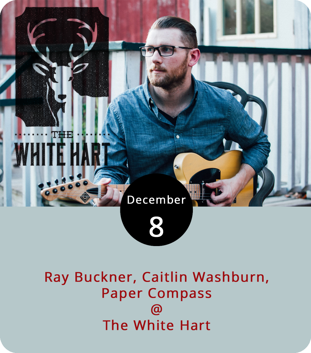 Call it an early night or get the evening started the right way as White Hart Cafe (1208 Main St.) features three bands before 9 p.m. Starting at 7 p.m., the café, with a well-rounded selection of food and both caffeinated and alcoholic libations, brings two local acts and one from North Carolina. The show starts with Lynchburg singer-songwriter  Ray Buckner , a member of the indie-rock band  Hemingway . Carrboro, NC's Caitlin Washburn,, whose stylings stem from folk and an affinity for the master Bob Dylan, will play from her recently released EP titled  Fragile Hands . Rounding out the evening is Lynchburg's  Paper Compass , an acoustic act. The music may be over early but the cafe is open until 11 p.m. For more information, click  here or call (434) 207-5600.