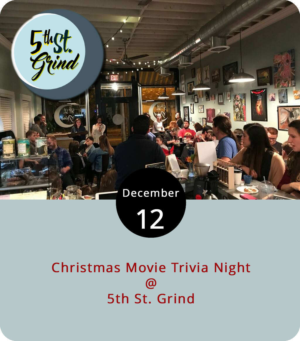 All the holiday movie aficionados and casual Christmas film fans can test their knowledge tonight as the 5th St. Grind (710 5th St.) weekly trivia night tests yuletide expertise. We're not sure just how deep the questions go, but we're going to recommend watching every version of  A Christmas Carol  since the advent of recorded television just to make sure. The winning team of Christmas Movie Trivia wins a $5 gift card for each member. Note: teams are limited to four people. The event runs from 7-9 p.m. with questions starting at 7:30 p.m. Along with coffee, 5th St. Grind offers a selection of Sweet 1603 desserts. For more information, click  here  or call (434) 386-8952.
