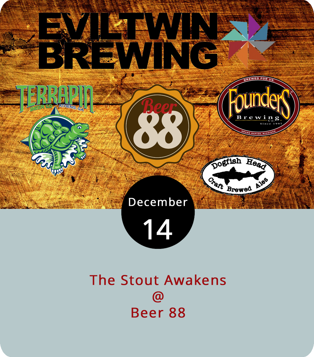 "Along with offering robust and rich flavors, stout beers tend to keep the consumer warm and full, making them a perfect compliment to a cold night in front of a warm fire. But they taste good out of a barroom tap, too, so check out Beer 88 (113 Hexham Dr.) tonight for The Stout Awakens where they're featuring a specialty stout lineup comprised of brews concocted by some of the nation's top brewers. Starting at 5 p.m., Beer 88 will host a pair brewed by world-renowned ""gypsy"" brewer  Evil Twin : the I Love You With My Stout (10.5% abv Imperial Stout) and Mexican Biscotti Cake Break (10.5% Imperial Stout, a collaboration with South Carolina's Westbrook Brewing Co.). They'll also offer a pair of barrel-aged imperial stouts by  Founders , the KBS and Lizard of Kos as well as  Dogfish Head Craft Brewery's  Oak-Aged Vanilla World Wide Stout. Rounding out the lineup is  Terrapin Beer Company's White Chocolate Moo-Hoo. For more information about the event, click  here  or call (434) 582-5025."