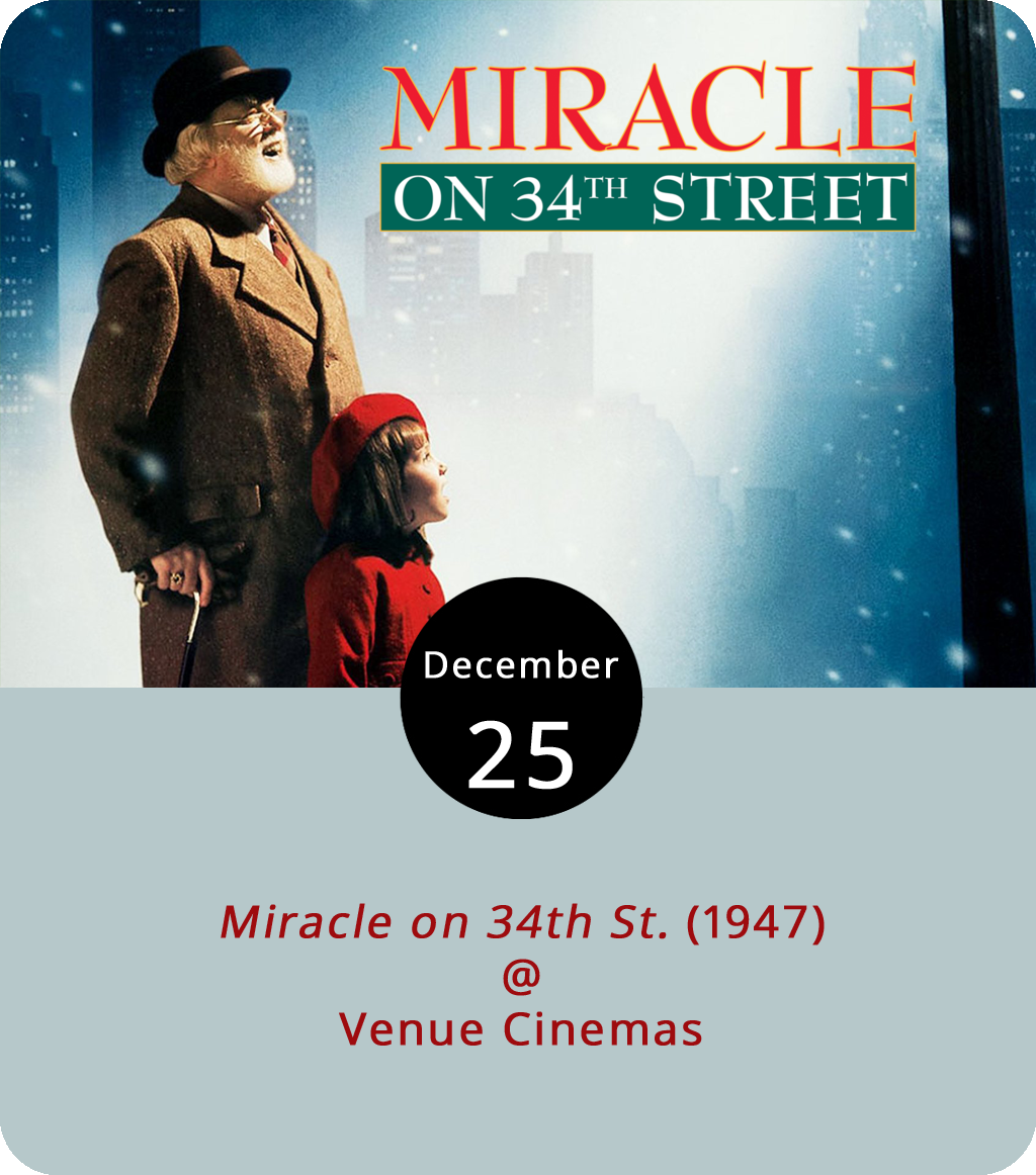 Looking for a Christmas miracle? Venue Cinemas (901 Lakeside Dr.) has it covered today when they continue their holiday classics series with  Miracle on 34th St.  (1947). When the Macy's Thanksgiving Day Parade Santa is too intoxicated to take the sleigh reins, events coordinator Doris Walker (Maureen O'Hara) convinces a man with a striking resemblance to Father Christmas to step into the jolly old elf boots. Spoiler alert: They fit him. He's a hit and he's hired as store Santa for the holiday season. When Walker and the store higher-ups learn the old man (Edmund Gwenn) goes by Kris Kringle and holds himself out as the real life Santa Claus, they wonder if they made the right decision. Stay tuned for miracles. Showtimes are 12:00, 2:15, 4:30, 7:00 and 9:15 p.m. Dec. 22-Dec. 28 except for today when the theatre opens a little late because of the holiday. The first showing will be at 2:15 p.m. today. For more information, click  here  or call (434) 845-2398.