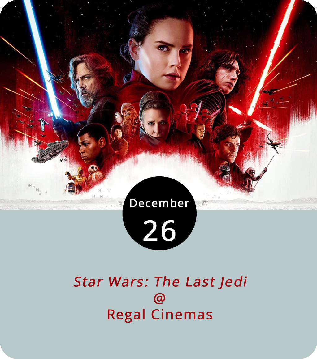 Although the movie has been out for more than a week by now, we know our loyal readers are busy, so we'll refrain from posting any spoilers. But for any film fan, it's about time to go see  Star Wars: The Last Jedi (2017) in theatres as it is meant to be seen. The lines should have died down by now, although we expect the Regal Cinemas (3411 Candlers Mountain Rd.) to still be pretty busy with post-holiday shopping. We've talked it over, here at LynchburgDoes and although the movie wasn't perfect, we were quite satisfied. The Last Jedi has an enjoyable story complete with an appropriate number of nods to the original trilogy and certainly ups the ante in terms of art direction. There's a good bit of action and plenty of depth regarding Jedi philosophy, good, evil, etc... although it may not answer every question asked in  The Force Awakens (2015). Check ahead for tickets  here or call (844) 462-7342 ext 4045.