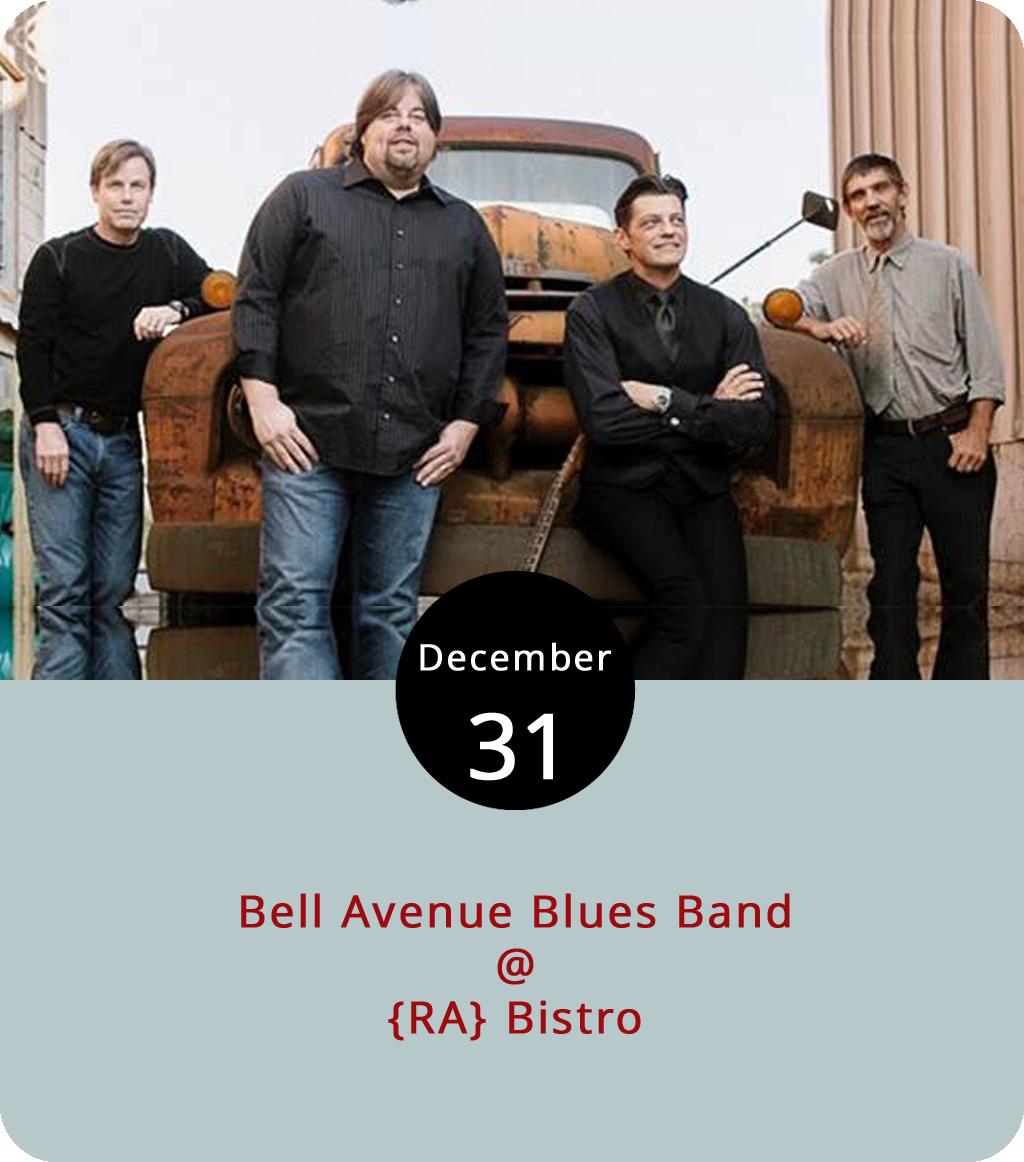 The locally based Bell's Avenue Blues Band are shepherding in 2018 at {RA}Bistro (1344 Main St.), where there will be a midnight champagne toast as the proverbial ball drops in Times Square. The party starts at 9 p.m. and goes until closing time. While there's plenty of space at {RA}'s, including an outdoor deck, reservations for dinner is probably a good idea. Check out a menu  here , or call (434) 845-1601 for info and reservations.