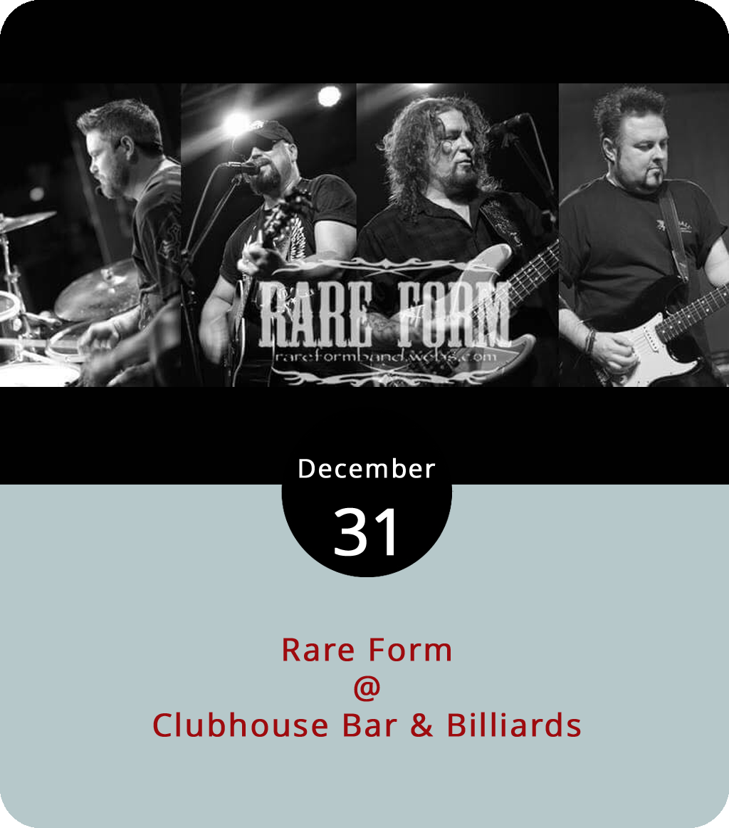The Clubhouse (21174 Timberlake Rd.) boasts ten flat screen HD TVs, one hi-def big screen, nine billiards tables, and at least 18 different ways to order wings. Tonight, they'll also have country music from the local band  Rare Form to help ring in the New Year. The music is set to begin at 8 p.m. and go until at least midnight. It's $10 at the door. Check out their menu  here , the website  here , or call (434) 239-7665 for more info.