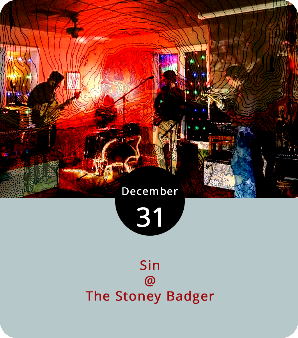 The local jam-rock band Sin are handling the New Year's Eve duties this evening at the Stoney Bader (3009 Old Forest Rd.). The Badger will be serving its usual menu of smoked meats, wings, and all kinds of other stick-to-your-ribs fare that you can peruse  here . The music gets underway at 9:30 p.m. Click  here  or call (434) 384-3004 for more info.