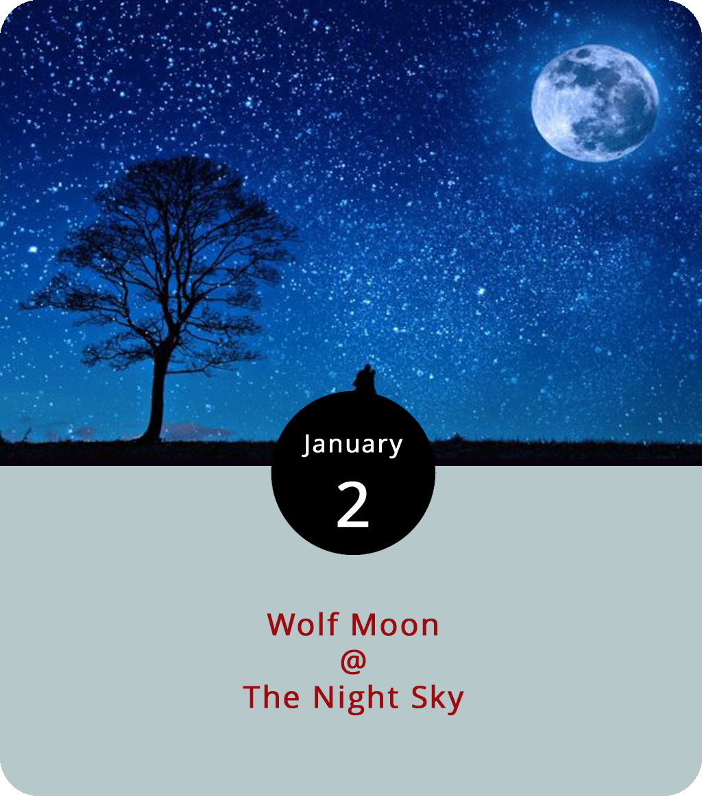 "January is shaping up to be an exciting month for lunar observers. For starters, we've got what's known as a ""wolf"" moon rising this evening, which is what the  Old Farmer's Almanac  calls the first full-moon of the new year, perhaps because it falls at the beginning of mating season for our  Canis lupus  friends. This year's wolf moon is also a ""supermoon,"" which is what happens when a full moon coincides with the moon's closest Earth orbital approach. So, don't be alarmed if the moon looks significantly larger and closer tonight than it usually does; it's not your imagination. But, that's just a preview for an even bigger lunar event later in the month – a bona fide blue moon, or the second full moon in one calendar month. It'll also be a supermoon, and it will take place during a lunar eclipse (when the moon passes into the Earth's shadow), which means it qualifies as a blood moon. So, get your wolf moon fix tonight, and then start gearing up for a blood blue supermoon on the last day of January."