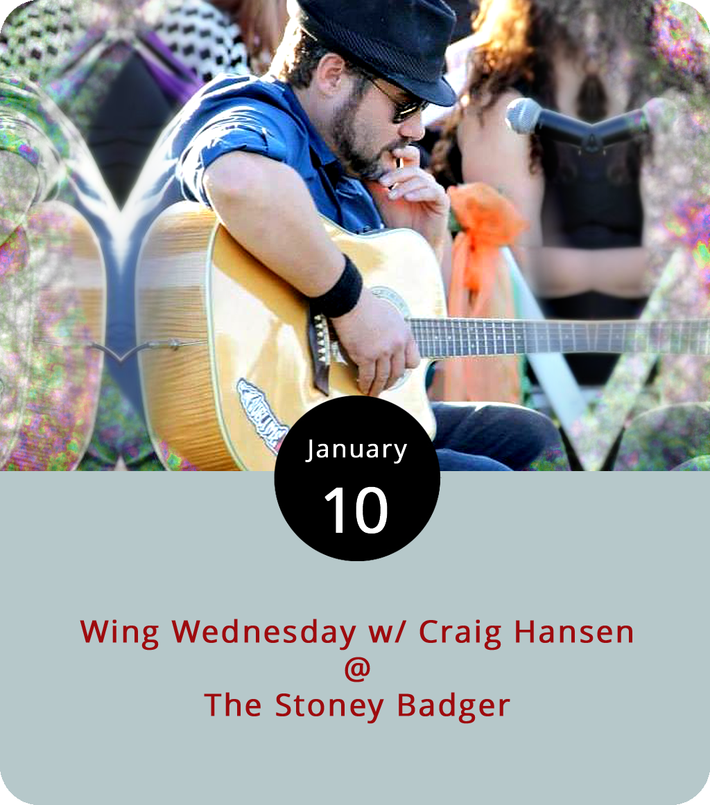 """One recurring local event that's worth checking out if you're hungry is """"Wing Wednesday"""" at the Stoney Badger Tavern (3009 Old Forest Rd.), a place that kinda specializes in doing chicken wings really well. They've got dry rubbed wings and sauced wings of the spicy and calm variety, including a parmesan caeser-type wing, which is pretty cool. On any other night of the week you can get six wings for $7; 18 for $20; or 24 for $24. But on Wednesdays, wings are just 75 cents apiece. To sweeten the deal, local singer-songwriter Craig Hanson has a regular gig performing on Wednesdays from 7:30-10:30 p.m. Click  here or call (434) 384-3004 for more info."""