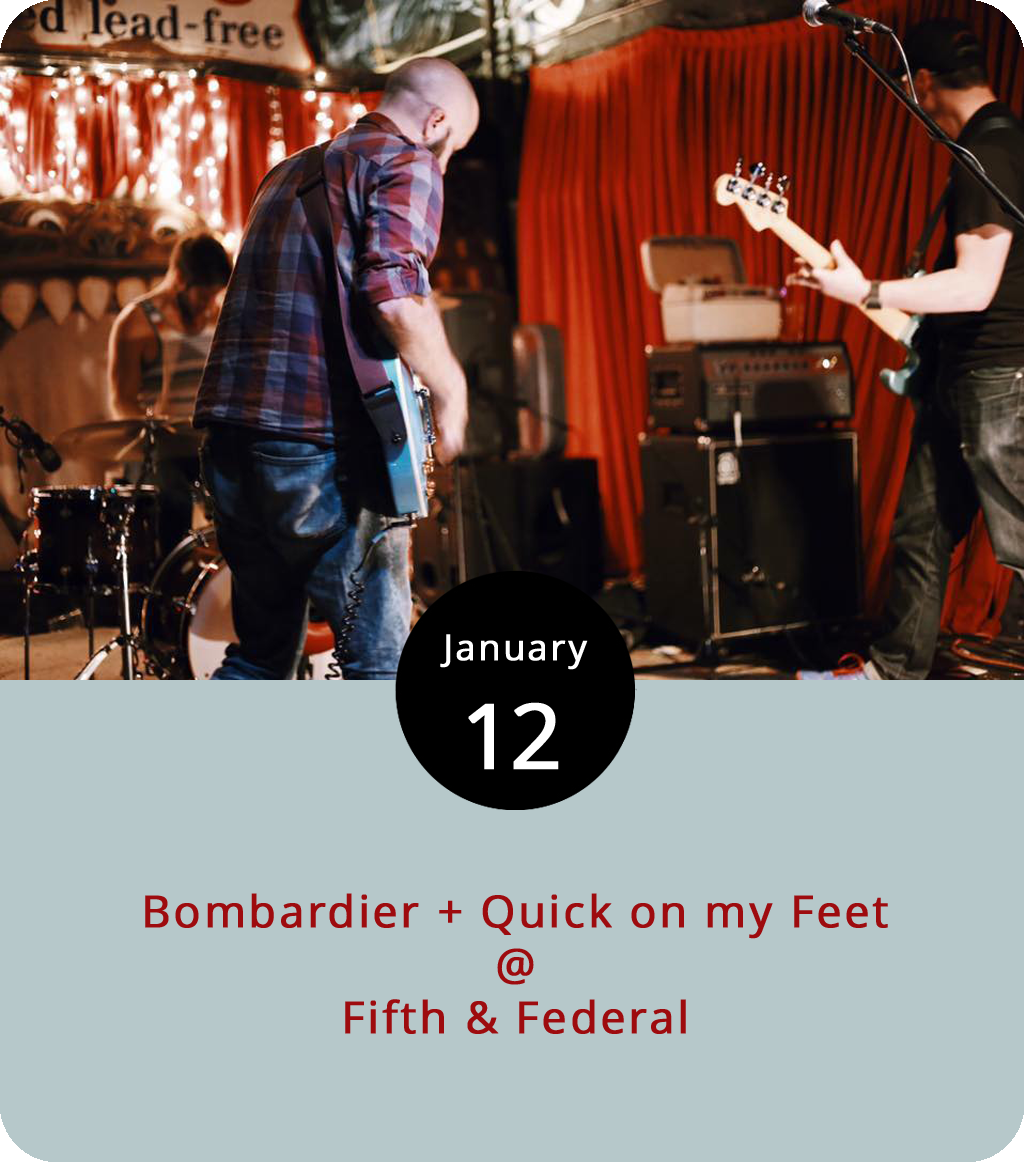 """Historically speaking, a bombardier was the guy responsible for targeting and releasing a plane's explosive payload, which was a pretty important job back before computers took over that role. The """"post-rock"""" band Bombardier are more of a ground-based entity with a penchant for releasing something more constructive into the atmosphere. Although some of the band's music resonates with the beat of war drums (""""Revenir"""" from the album  Liminality ), most of what they do involves contemplative atmospherics with few if any lyrics. They'll be playing at Fifth & Federal Station (801 5th St.) along with the local alternative band Quick On My Feet, who released the EP  Friends  last year. The show runs from 8-11 p.m. and has no cover. For more information, click  here or call (434) 386-8113."""