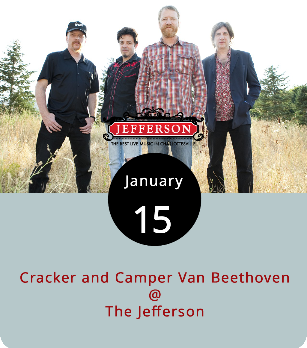 """Two of the musical threads that David Lowery's spent more than two decades weaving into an impressive and, at times, impressionistic resume as a half-indie/half-rootsy musician/bandleader have intertwined in a rather convenient fashion this year. Camper Van Beethoven, the post-punk band of noisy merrymakers Lowery formed in 1983 (does anyone remember """"Take the Skinheads Bowling""""?) have joined up with his more recent and mainstream-leaning group Cracker (""""Euro-Trash Girl"""" anyone?) for a joint tour. The two share Lowery and a Monday night bill at the Jefferson Theater (110 East Main St.) in Charlottesville. Tickets are $22 in advance and $25 on the day of the show. Doors are at 6:30 p.m. Call (434) 245-4980 for tickets or click  here ."""