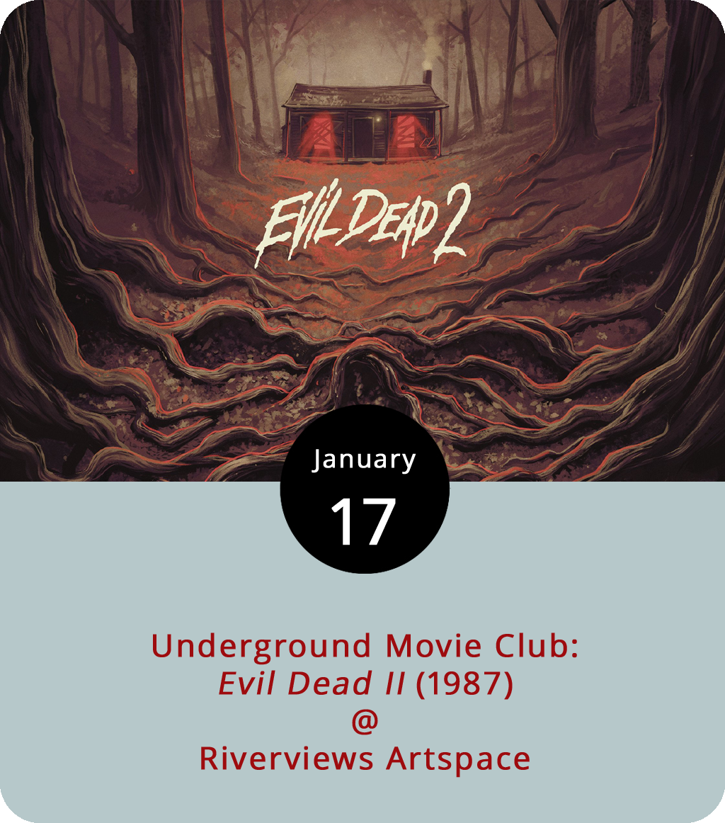 Last year, Riverviews Artspace (901 Jefferson St.) and resident film geek Ken Faraoni set their sights on celluloid of the noirish variety and screened one film noir per month. This year they're digging a little deeper into filmic history with the newly christened Lynchburg Underground Movie Club (LUMC). It kicks off today with the comic horror classic  Evil Dead II (1987), an early missive from the mind of Sam Raimi, a director who's better known these days as the guy behind the original trilogy of  Spider-Man – the Tobey Maguire ones. As the title suggests, Evil Dead II was the follow-up to the campier and certainly cheaper 1981 Raimi film  Evil Dead , and it's fair to say that both films were way, way ahead of the curve on the whole zombie apocalypse thing. Would we even have  The Walking Dead  if not for the stalking creatures of  Evil Dead ? It's a question worth pondering this evening at the inaugural LUMC screening, which gets underway at 7:30 p.m. Tickets are $7 and there's cash bar; call (434) 847-7277 or click  here for more info.