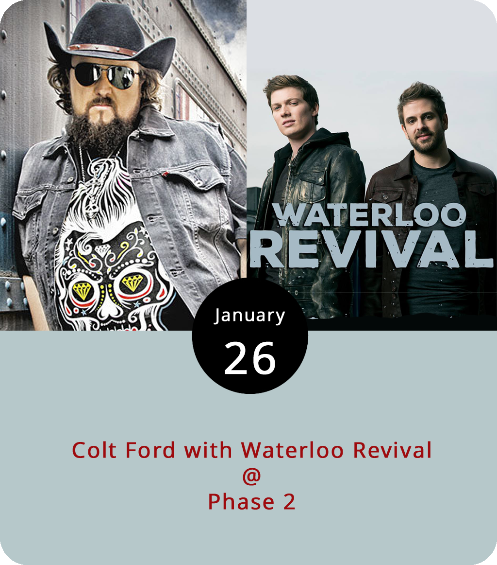"""Colt Ford performs songs about chicken and biscuits, pickup trucks and a cricket-quiet country date. And he's also been known to rap. The country entertainer and former professional golfer is a man of many talents. On the song  """"No Rest"""" from his 2017 album  Faith Hope Love he got Brad Paisley and Toby Keith to join him. They'll only be with Ford in spirit this evening as he hits Phase 2 (4009 Murray Pl.) for a show with the country duo Waterloo Revival, who happen to be featured on Ford's recording of the song """"Dynamite."""" Lynchburg locals Relentless go on first after the doors open at 7 p.m. Tickets are $20 for the 21-plus show. Click  here or call (434) 846-3206 for more info."""