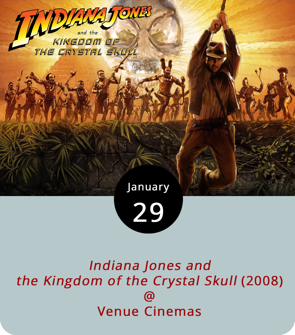 The 20-year gap between the  Last Crusade and the next Indiana Jones film would have been long enough for dirt and dust to bury most swashbuckling archeologists. But time and memory were kind to Indy and actor Harrison Ford who plays him in all four parts of the saga. Directed by Steven Spielberg, the fourth and possibly final film in the saga is  Indiana Jones and the Kingdom of the Crystal Skull  (2008). This time, instead of Nazis he's battling the Soviets, including Irina Spalko (Cate Blanchett), as he searches along with Mutt Williams (Shia Labeouf) for the titular skull of crystal. Venue Cinemas (901 Lakeside Dr.) concludes its month-long festival of Indiana Jones films with screenings of the fourth one at 12:30, 3:30, 6:45 and 9:45 p.m. through February 1. For more information, click  here or call (434) 845-2398.