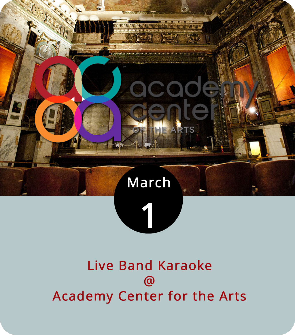 We can't all be P-Funk stars. But you can pretend tonight at the Academy Center of the Arts (519 Commerce St.), where they'll have a real band on stage for a live-band karaoke extravaganza. The song list, posted on the event Facebook  page , tends toward funk music, with a little rock sprinkled in for good measure. Makes sense, given that members of the local band Tony Camm & The Funk Allstars are handling the live music side of things. Camm and his band will be performing their own show at the Academy tomorrow night, which you can find out more about by clicking  here . The karaoke is free tonight from 6-9 p.m. For more information, click  here or call (434) 846-8499.