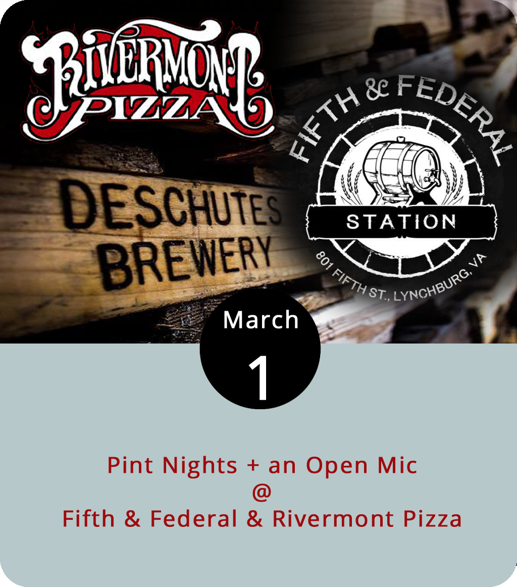 """While some people pair beer with dinner, Fifth & Federal Station (801 Fifth St.) is matching  Deschutes Brewery selections with their weekly open mic tonight. The Portland brewery with an outpost in Roanoke will be featured in branded pint glasses customers can take home from 7-11 p.m. For more info, click  here or call (434) 386-8113. Rivermont Pizza (2496 Rivermont Ave.), who host pint nights and tap takeovers on most Thursdays, is featuring Brooklyn Brewery's  Black Ops , a beer the brewer jokingly claims doesn't exist. If it did exist – and it does — the 11.5% black stout would be, in the words of certain secretive Brooklynites, """"aged for months in bourbon barrels, bottled flat, and re-fermented with Champagne yeast."""" Sounds interesting. The event starts at 6 p.m. For more info, call RP at (434) 846-2877."""