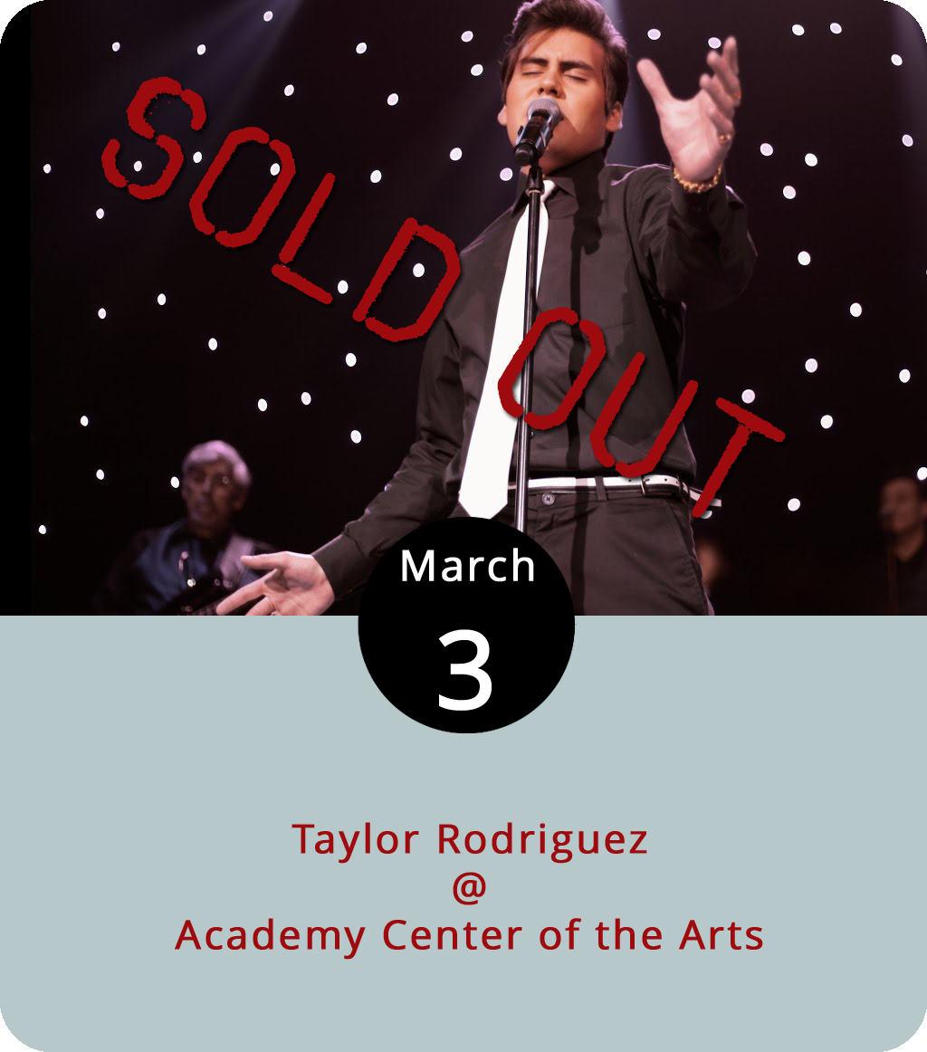 Most of the time, when Taylor Rodriguez gets on stage he does so in the guise of Mr. Elvis Presley, sideburns and all. Tonight he takes a break from impersonating the king of rock and roll and appears as himself at the Academy Center of the Arts (519 Commerce St.). He'll be backed by the solid BRZ Band, who know a thing or two about classic rock and soul. The show starts at 7:30 p.m. Tickets are $20. For more information call (434) 846-8499.