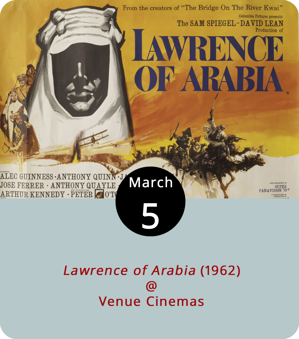 They don't make films like they used to… at least not if you use the 1962 epic  Lawrence of Arabia  as a baseline. Not only did the Super Panavision 70, Technicolor masterpiece use technology that made the big screen seem bigger, but it also filled that screen for a full three hours and 48 minutes. In other words, if it were made today it would probably be a trilogy. Directed by David Lean, and starring Peter O'Toole as the titular British renegade WWI hero T.E. Lawrence, the film actually does have an intermission and seven Oscars to its credit. It screens all week at Venue Cinemas (901 Lakeside Dr.) just twice at day, at 2 and 7 p.m. This is one of those movies you really do want to see on the big screen. Click  here for ticketing, or call (434) 845-2398.