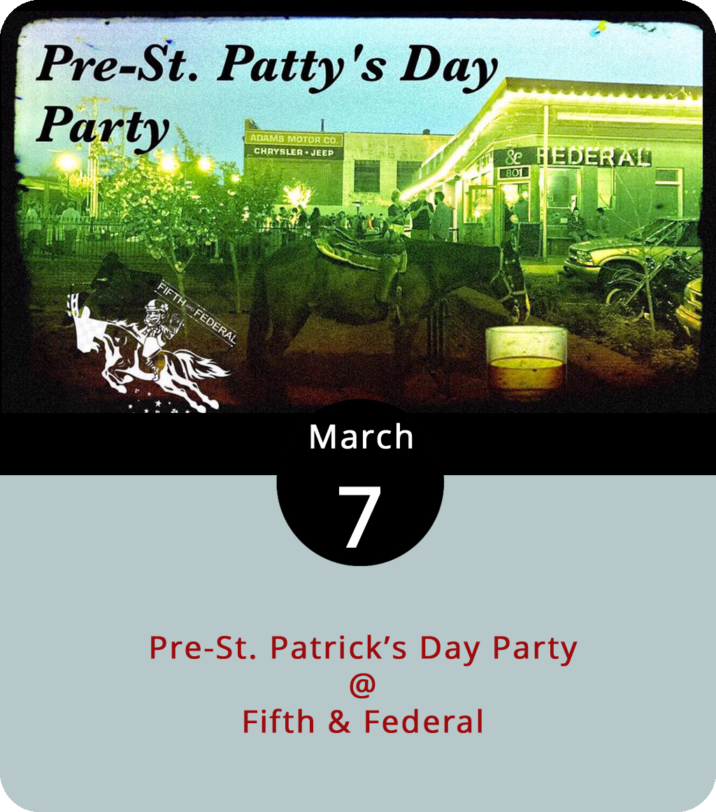 St. Patrick's Day is still more than a week away, but is it ever too soon to begin celebrating the Apostle of Ireland? Fifth & Federal Station (801 Fifth St.) is best known for their selection of bourbons, ryes, and other American distilled libations. But they've also got some Irish whiskeys on the shelf. They're breaking out some of Kilbeggan Distilling Co.'s best from 7-9 p.m. this evening for an Irish Whiskey Wednesday. They'll also be featuring 2 Gingers Whiskey, another Irish brand, and to-be-named Irish ale. As is the case on all Whiskey Wednesdays, it's 20% off any whiskey that cost $10 or more a shot. Click  here , or call (434) 386-8113 for more info.
