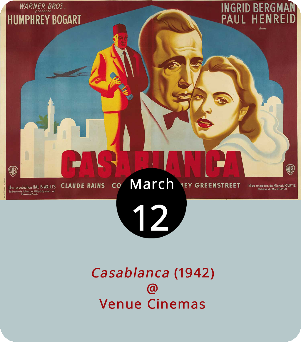 Of all the discount theatres in the world,  Casablanca  (1942) had to walk into ours. And we're pleased about that. Anyone who misses director Michael Curtiz's iconic film on the silver screen may not regret the decision today or tomorrow, but they will soon and for the rest of their lives. In the early days of World War II, Rick Blaine (Humphrey Bogart) operates a nightclub in Casablanca, Morocco, which has become a sort of gateway for refugees trying to escape the occupying Nazis. With heat already coming down on the club, in walks Blaine's old lover Ilsa Lund (Ingrid Bergman) and her husband Victor Laszlo (Paul Henreid), a Czechoslovakian resistance leader, hoping for safe passage to the United States. The film is playing (again and again) March 9-15 at Venue Cinemas (901 Lakeside Dr.). Showtimes vary. For more information, click  here  or call (434) 845-2398.